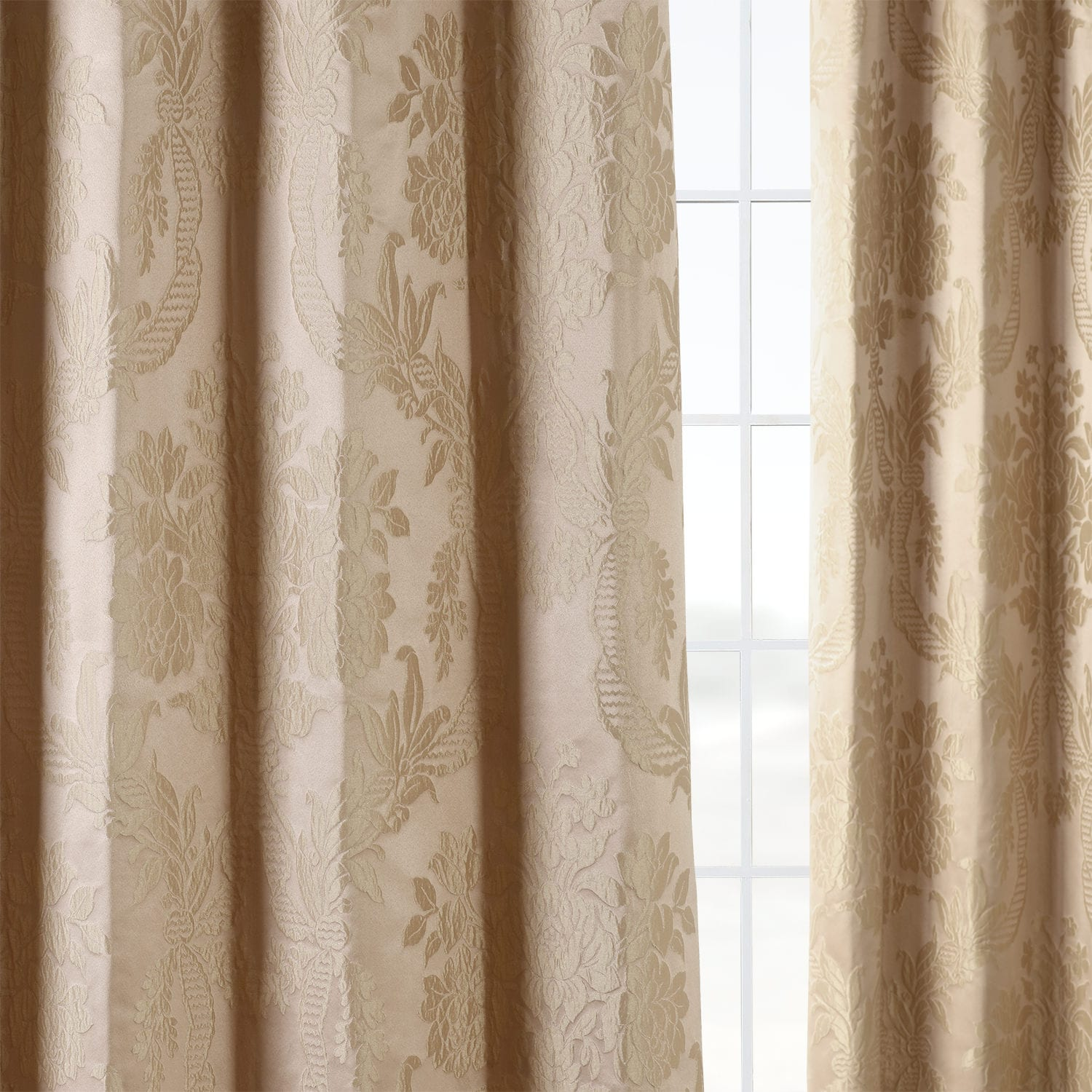 Magdelena Beige Amp Gold Faux Silk Jacquard Curtain