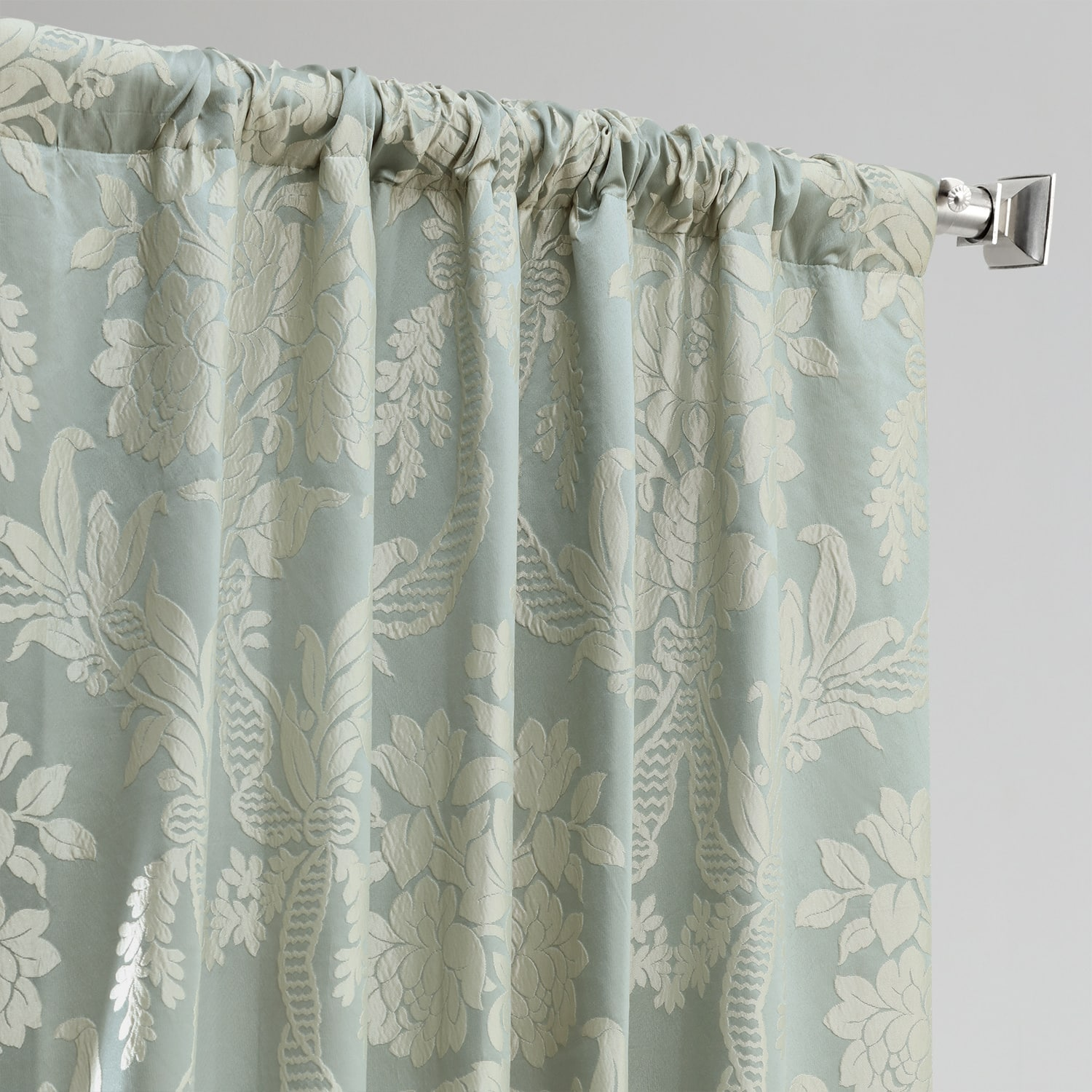 Magdelena Steel Blue & Silver Designer Damask Curtain