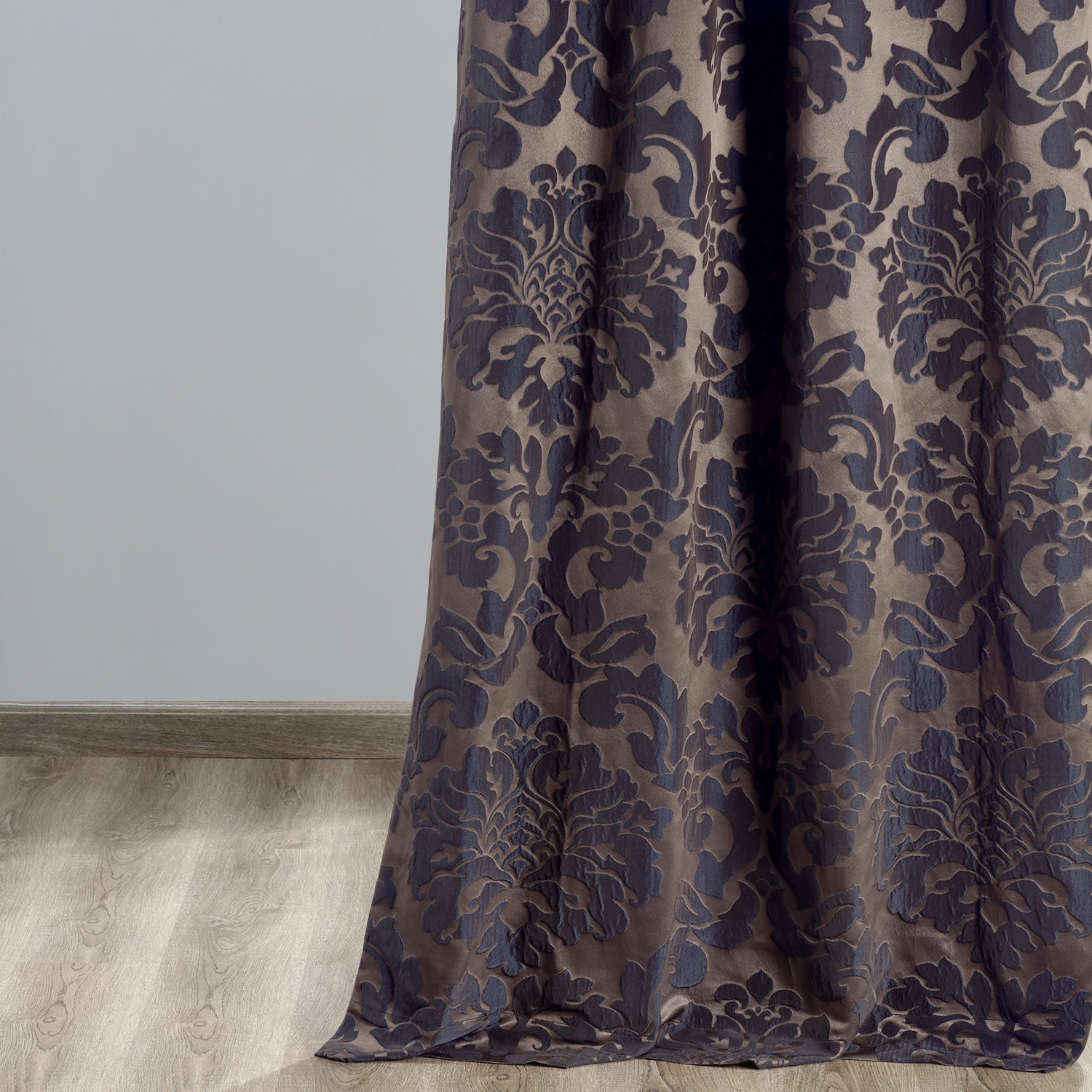 Astoria Warm Grey & Blue Designer Damask Curtain