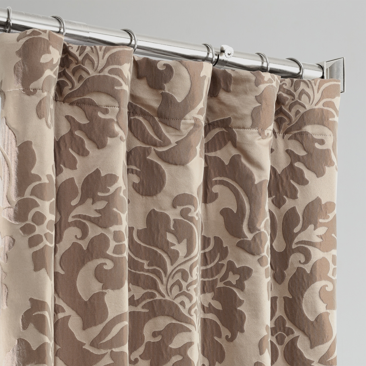 Astoria Taupe & Mushroom Designer Damask Curtain
