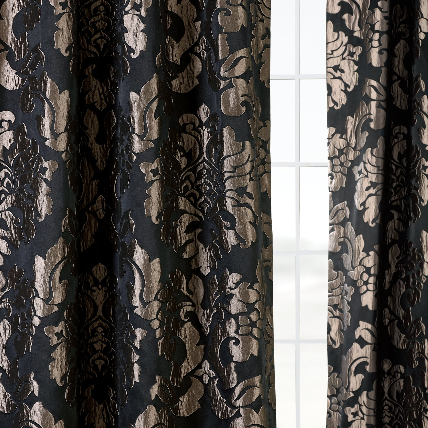 Astoria Black & Grey Designer Damask Curtain