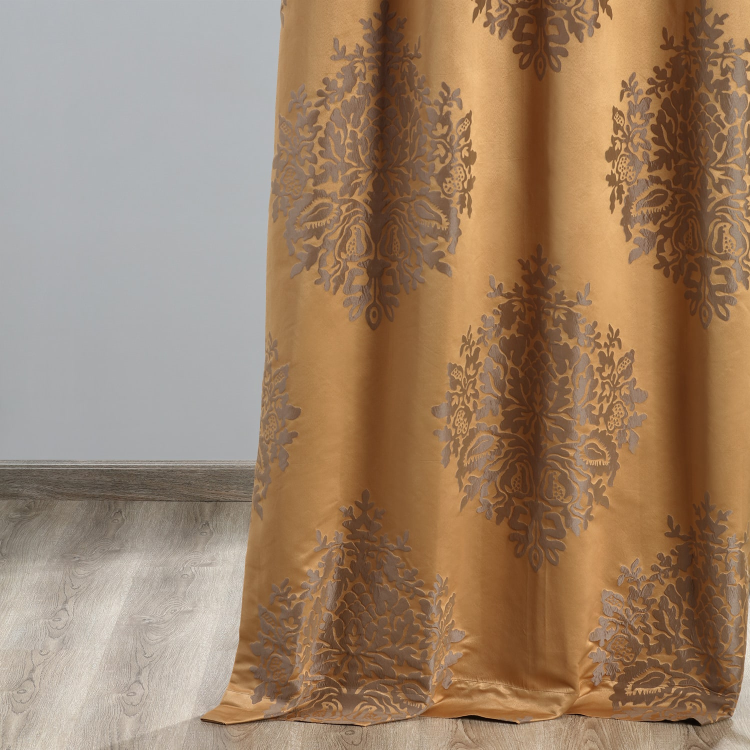 Ellaria Olympic Bronze Faux Silk Jacquard Curtain