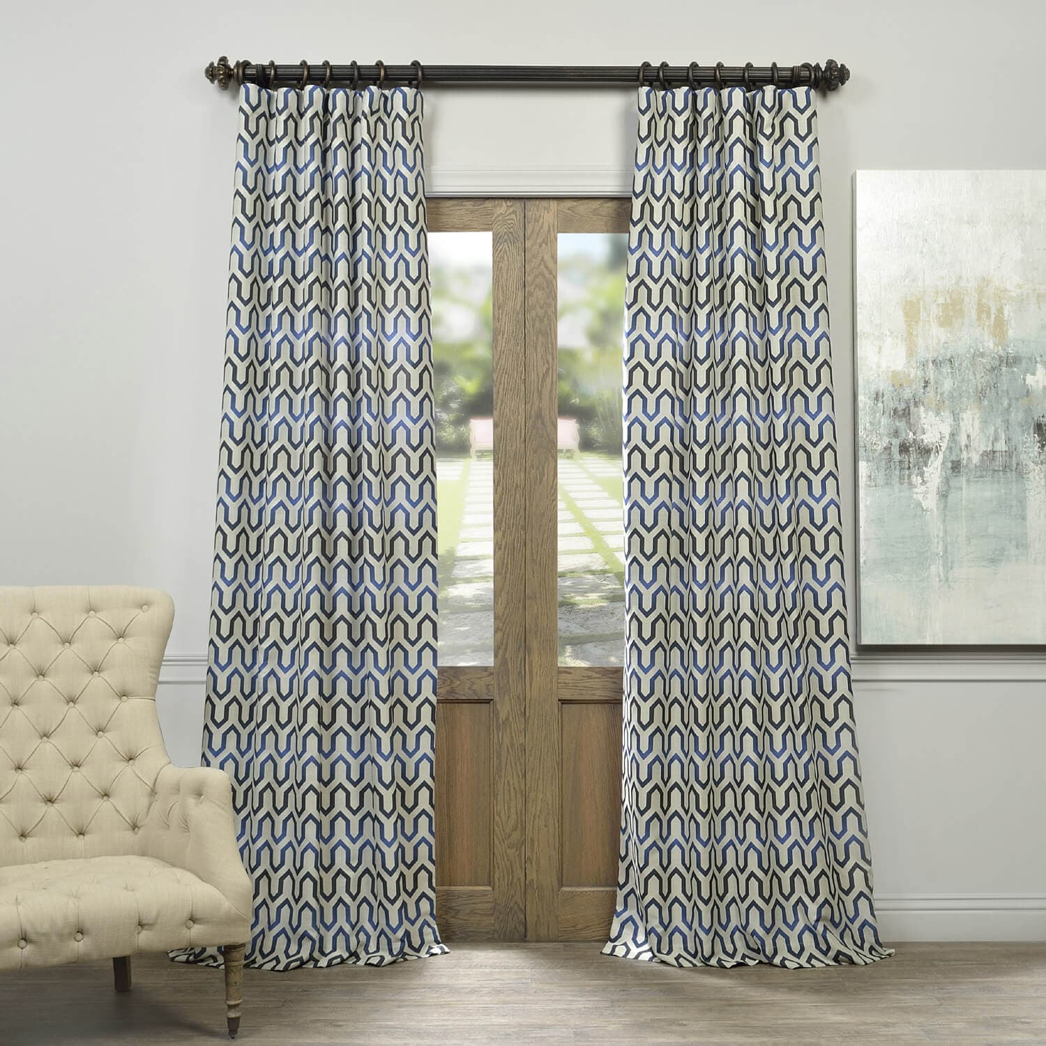 Coupon Cascade Blue Faux Silk Jacquard Curtain Best Price