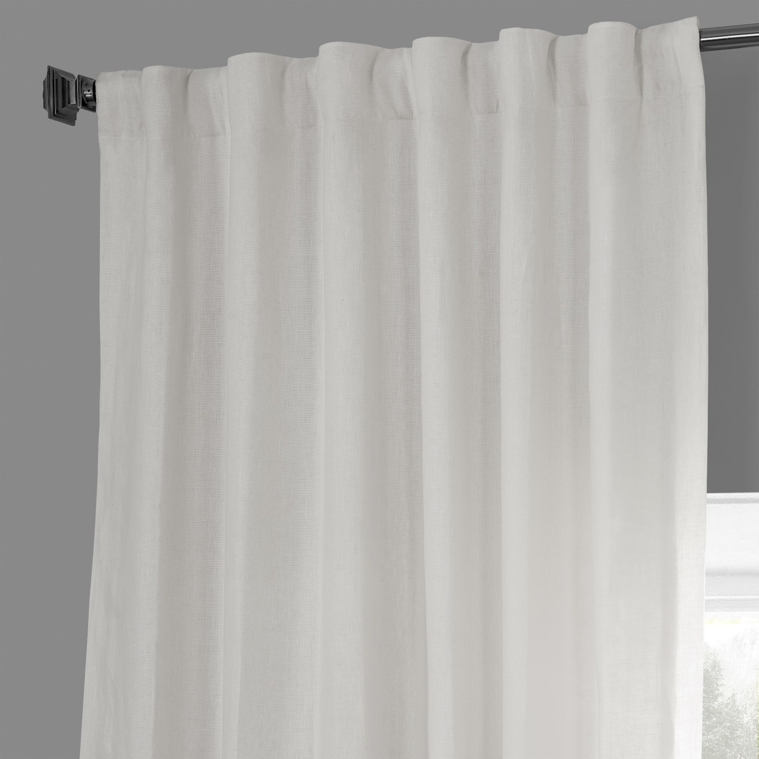 Crisp White French Linen Curtain