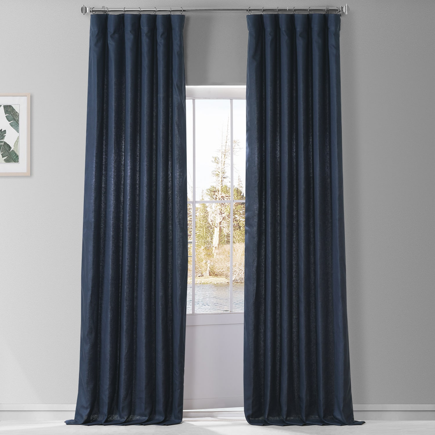 Native Navy French Linen Curtain