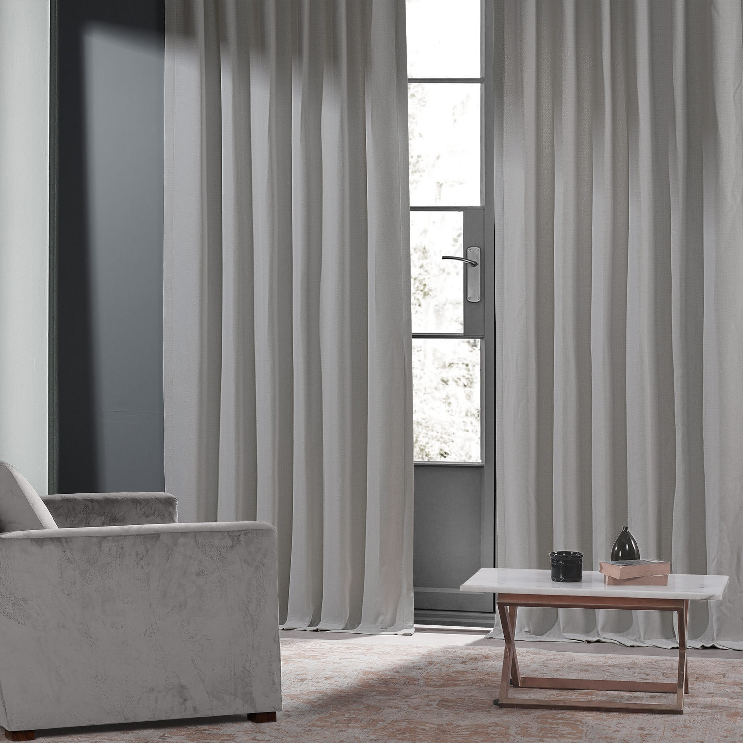 Colonial Off White Monochromatic Faux Linen Room Darkening Curtain Pair (2 Panels)