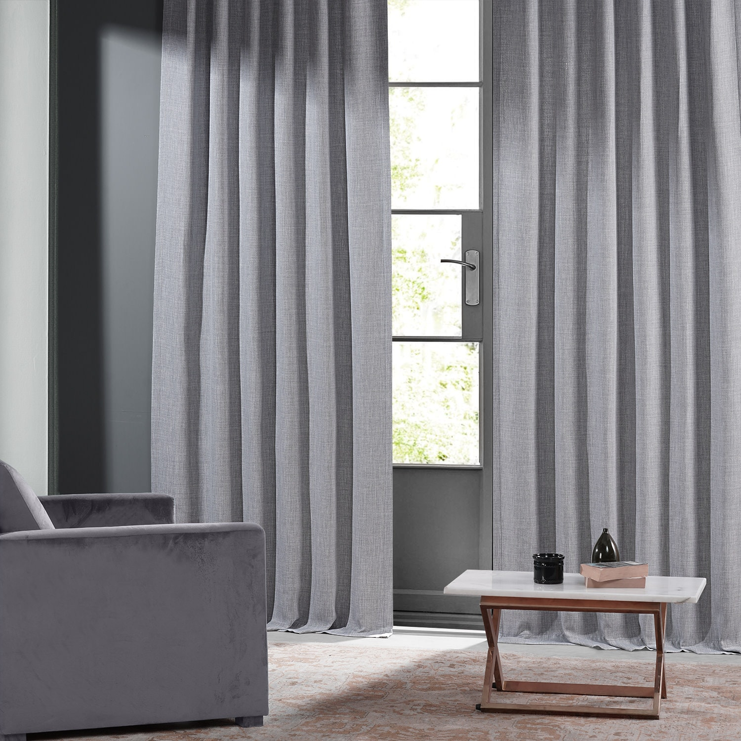 Chicago Grey Monochromatic Faux Linen Room Darkening Curtain Pair (2 Panels)