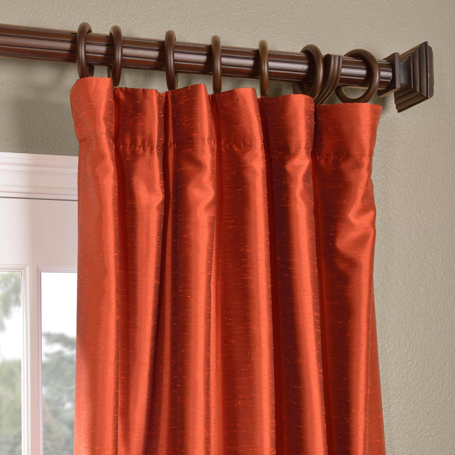Blood Orange Yarn Dyed Faux Dupioni Silk Curtain