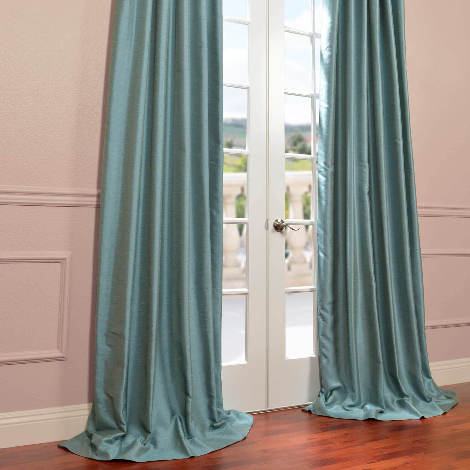 Yarn Dyed Faux Dupioni Silk Curtain In Blue Agave
