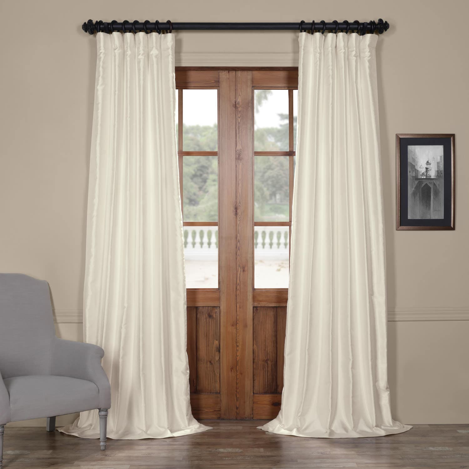 Translucent Cream Yarn Dyed Faux Dupioni Silk Curtain
