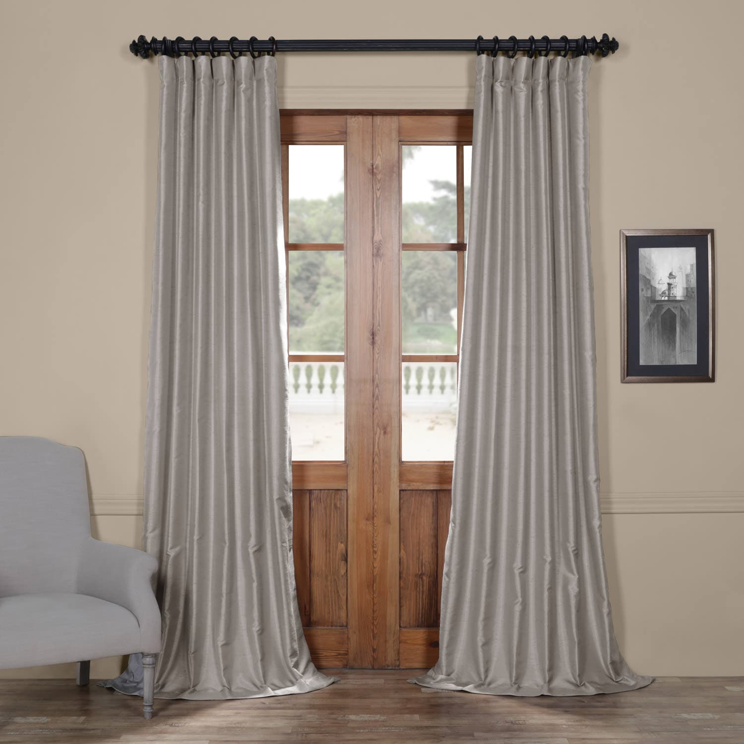 Elemental Grey Yarn Dyed Faux Dupioni Silk Curtain