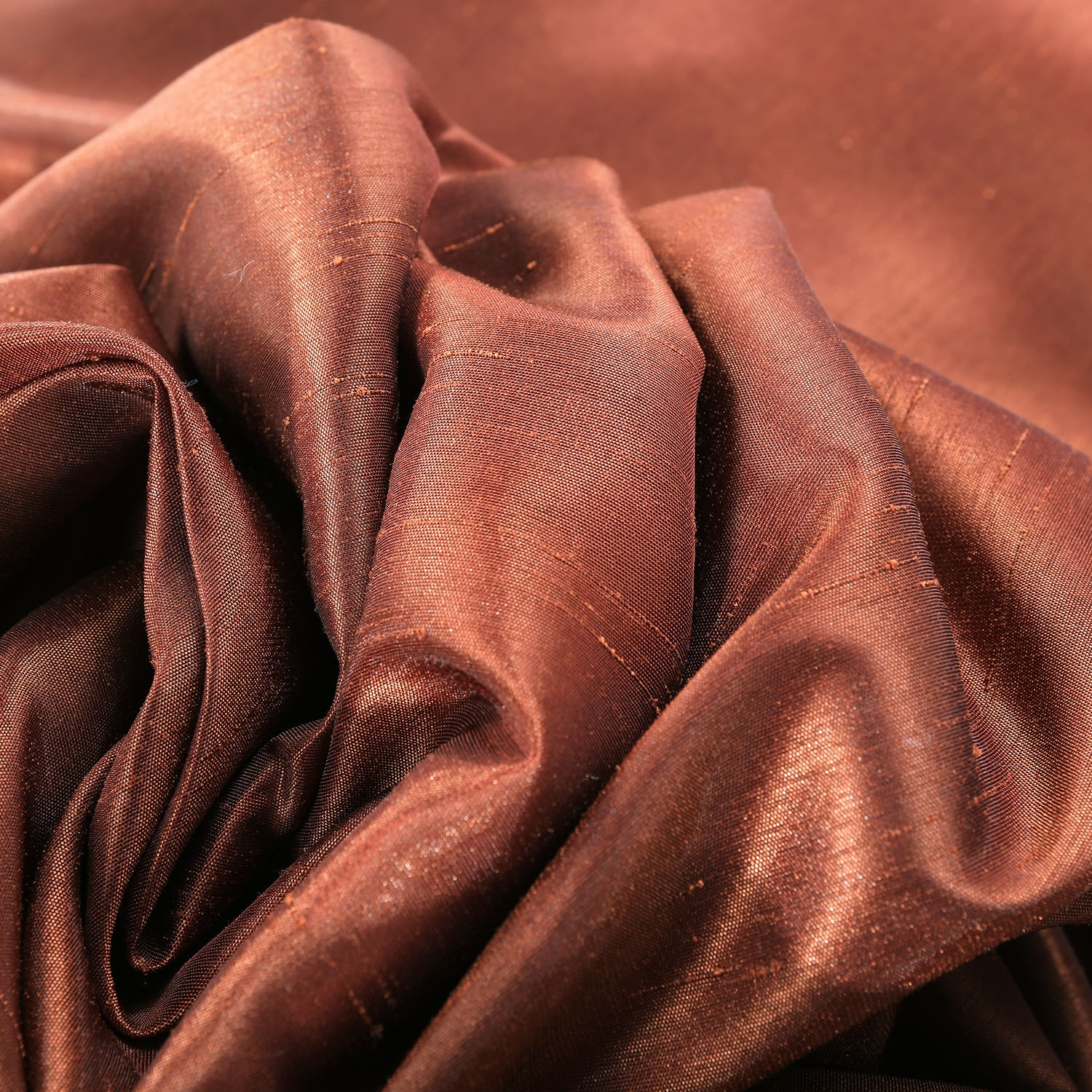 Burnt Orange Vintage Textured Faux Dupioni Silk Fabric