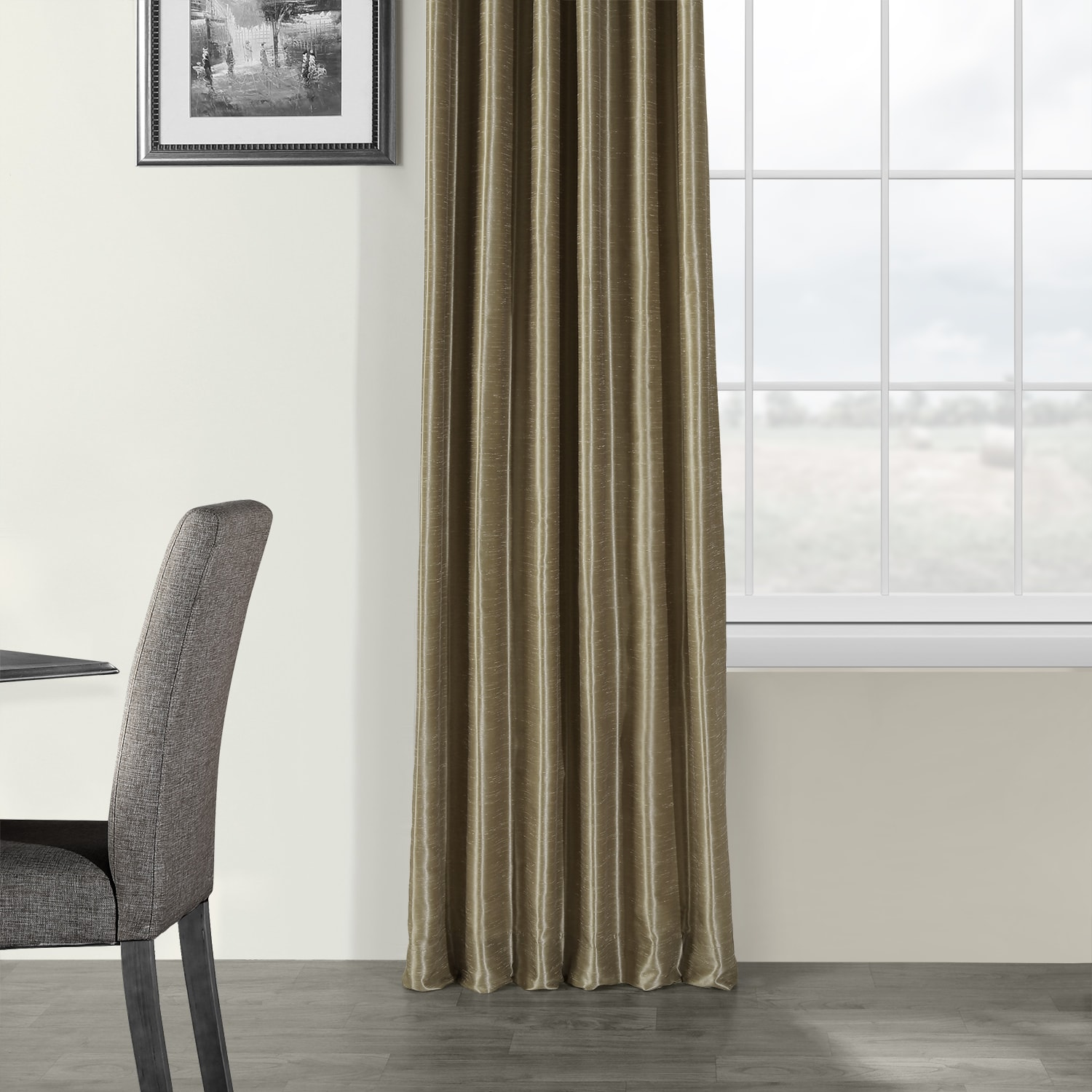 Warm Stone Vintage Textured Faux Dupioni Silk Curtain