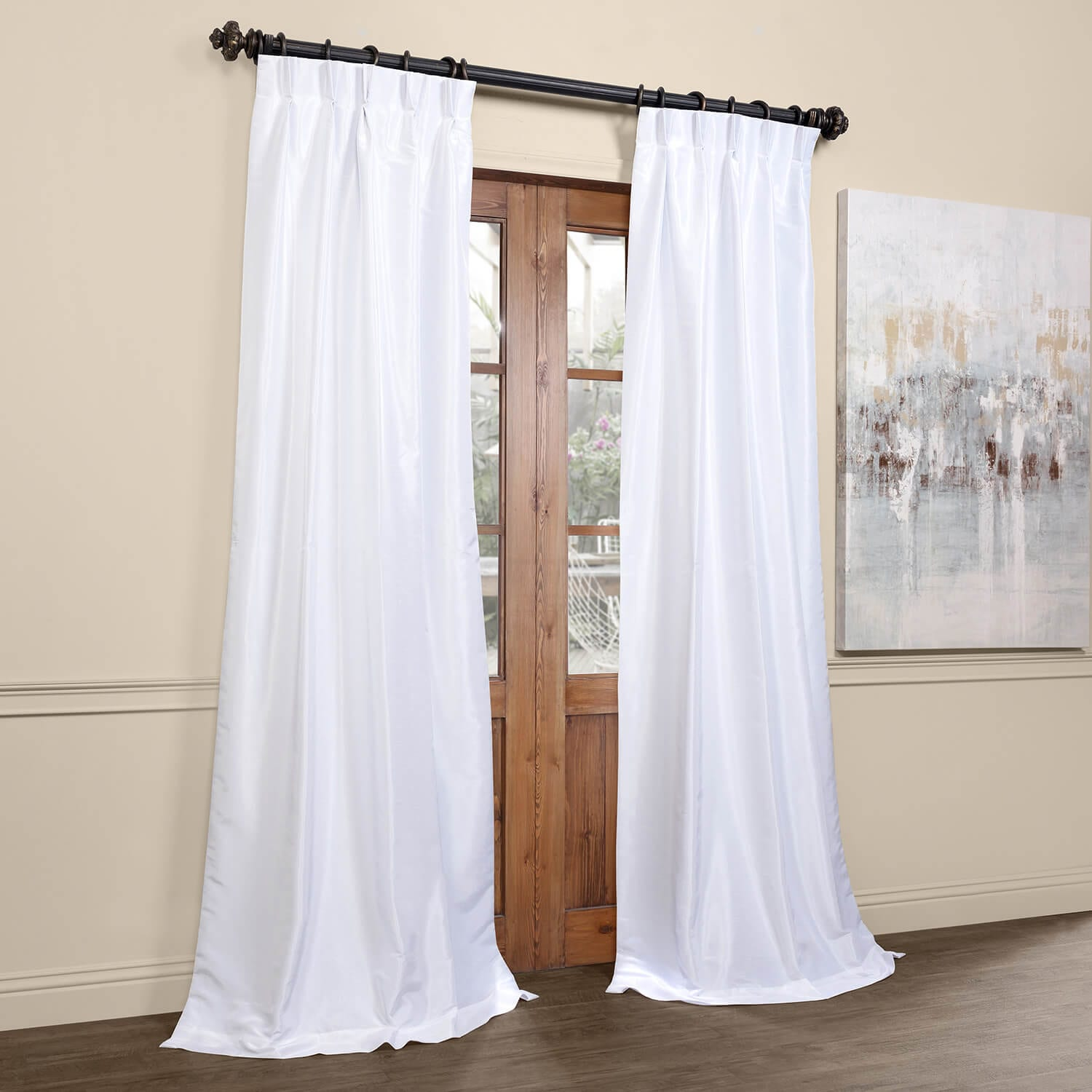 Ice Blackout Vintage Textured Faux Dupioni Pleated Curtain