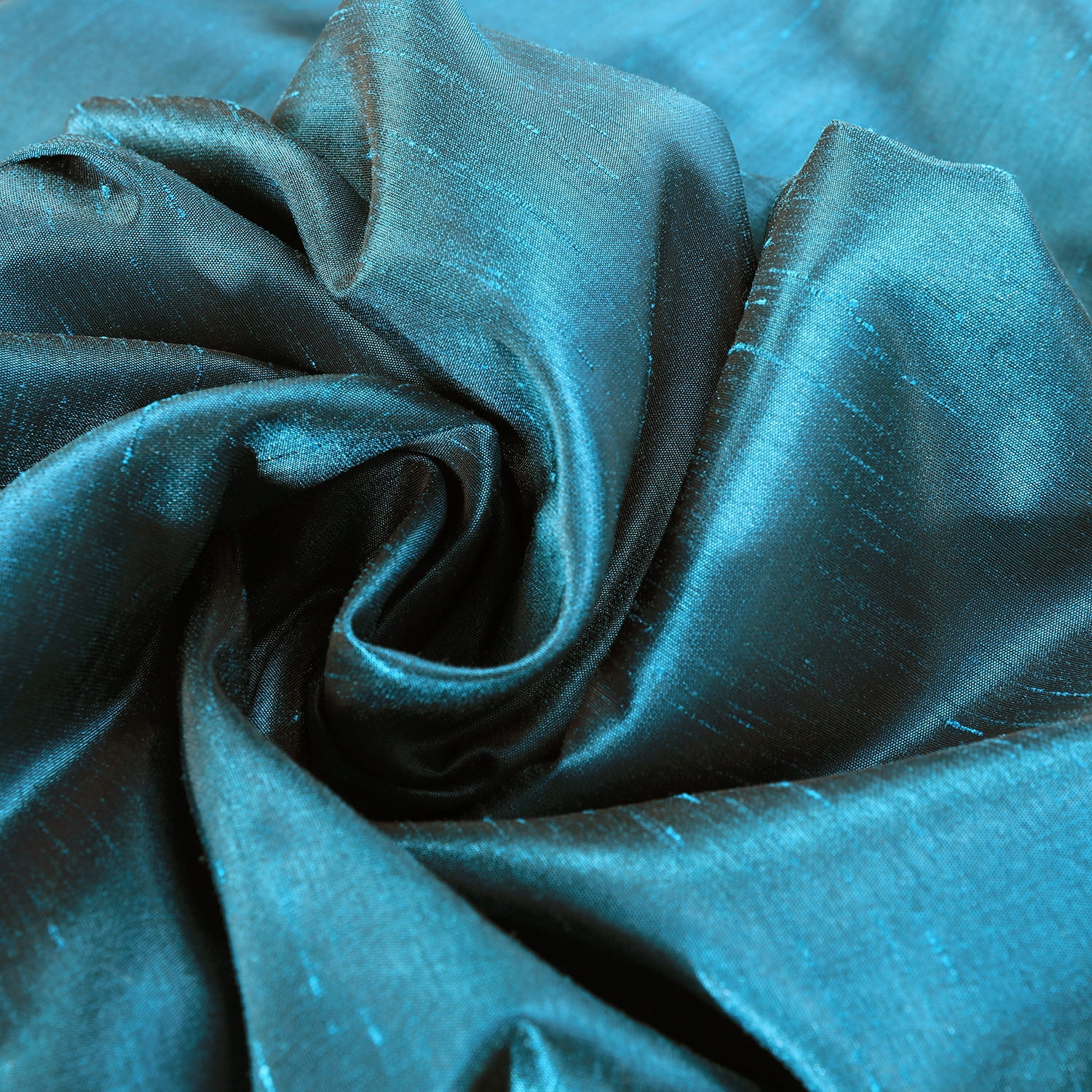 Oceanside Blue Vintage Textured Faux Dupioni Silk Fabric