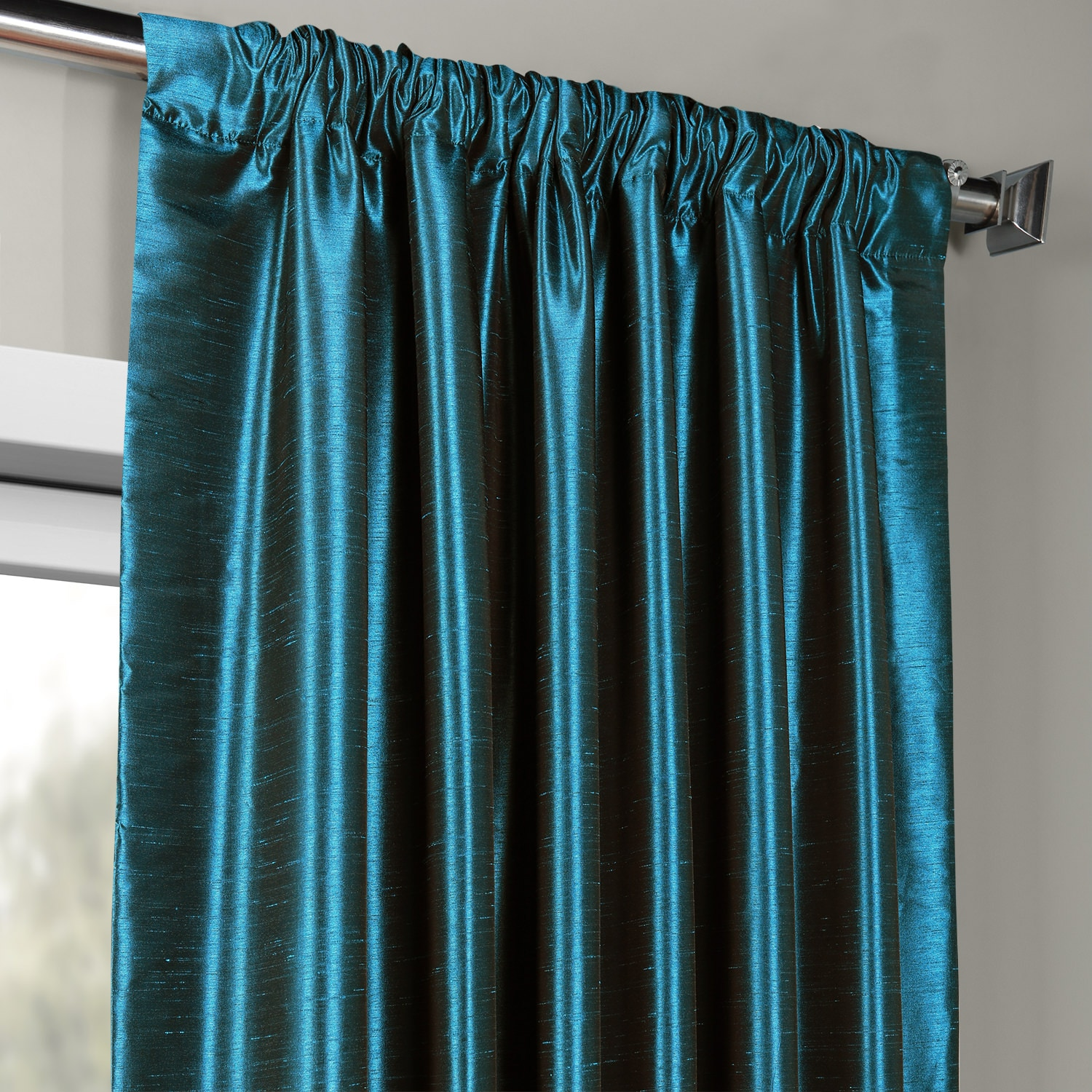 Oceanside Blue Vintage Textured Faux Dupioni Silk Curtain