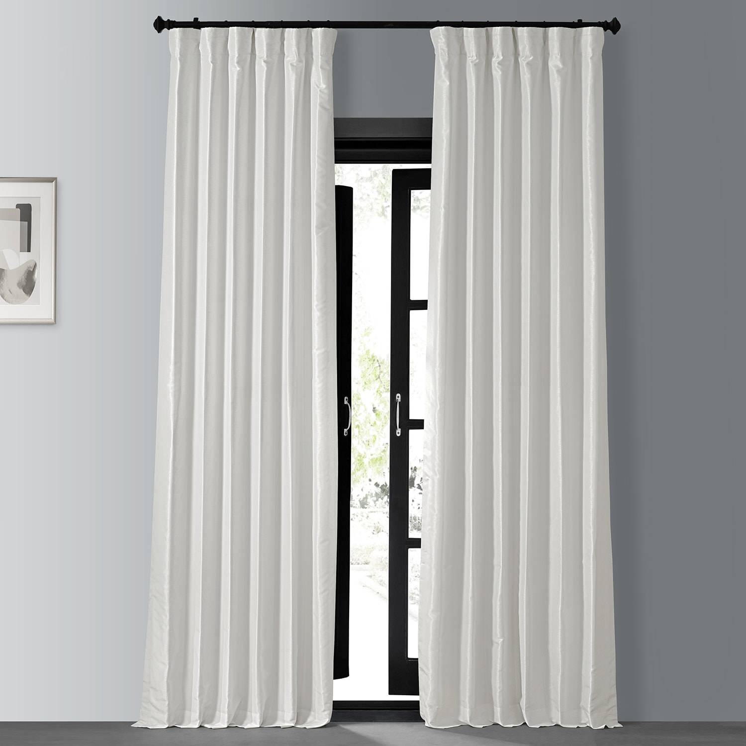 Off White Blackout Vintage Textured Faux Dupioni Curtain