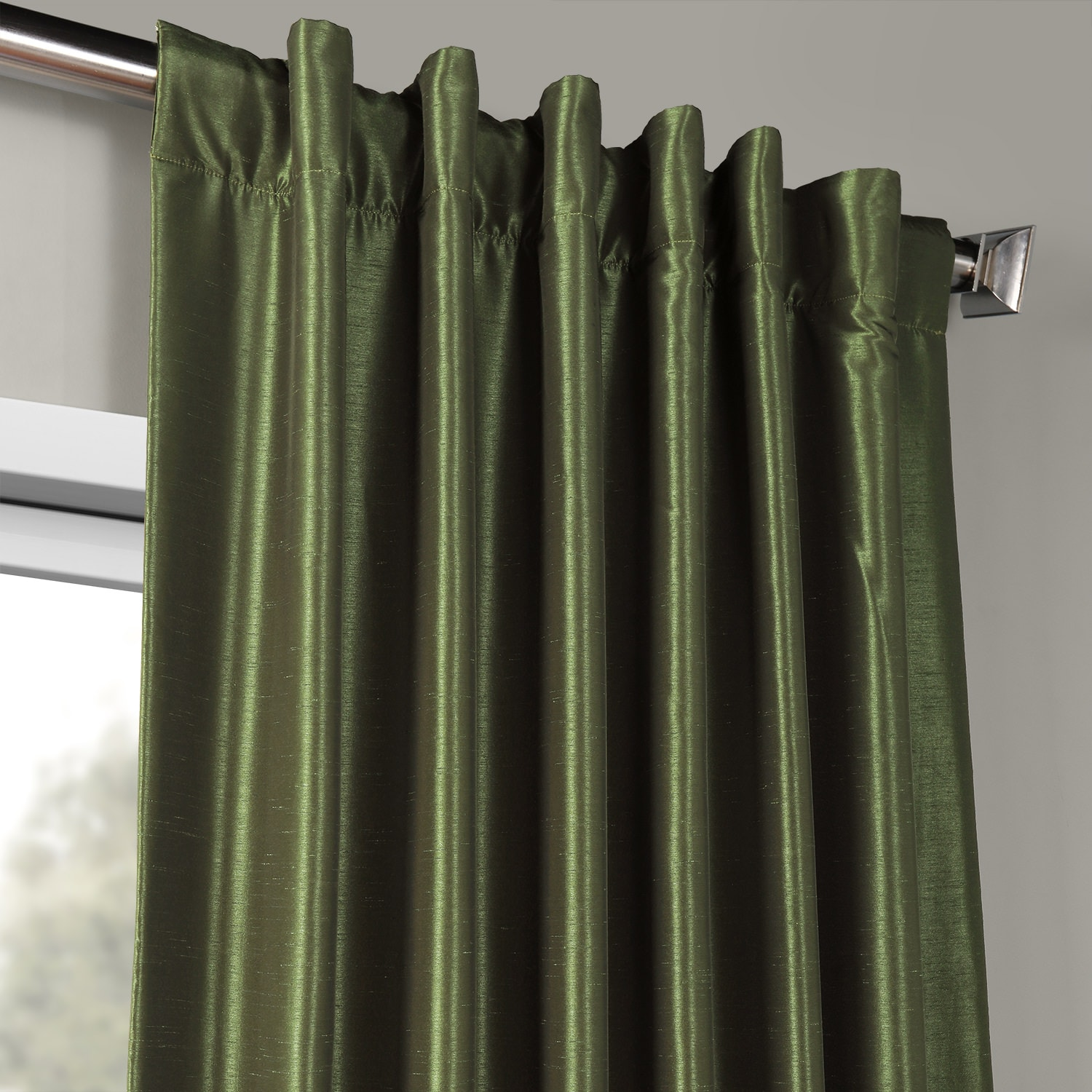 Pine Top Vintage Textured Faux Dupioni Silk Curtain