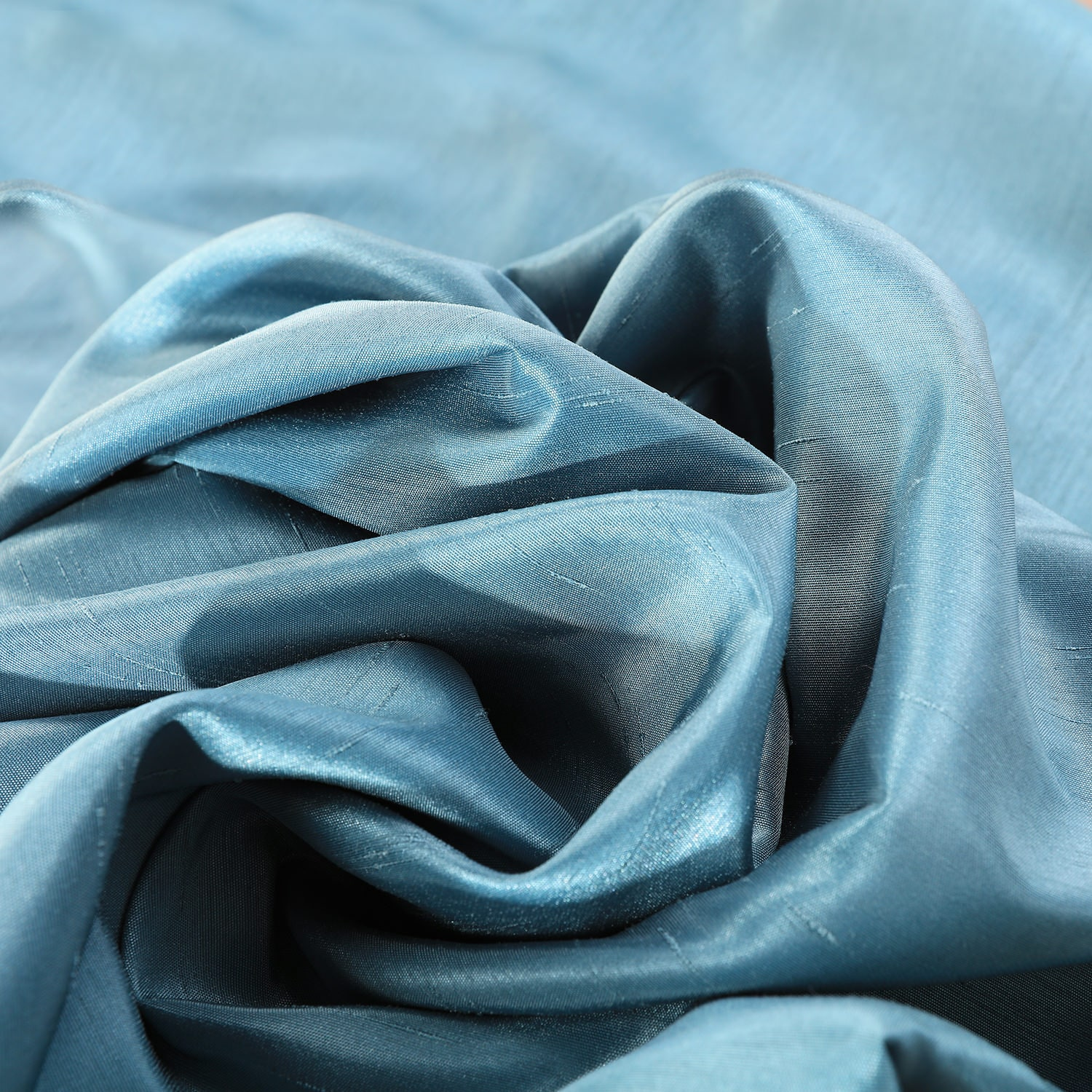 Nassau Blue Vintage Textured Faux Dupioni Silk Fabric