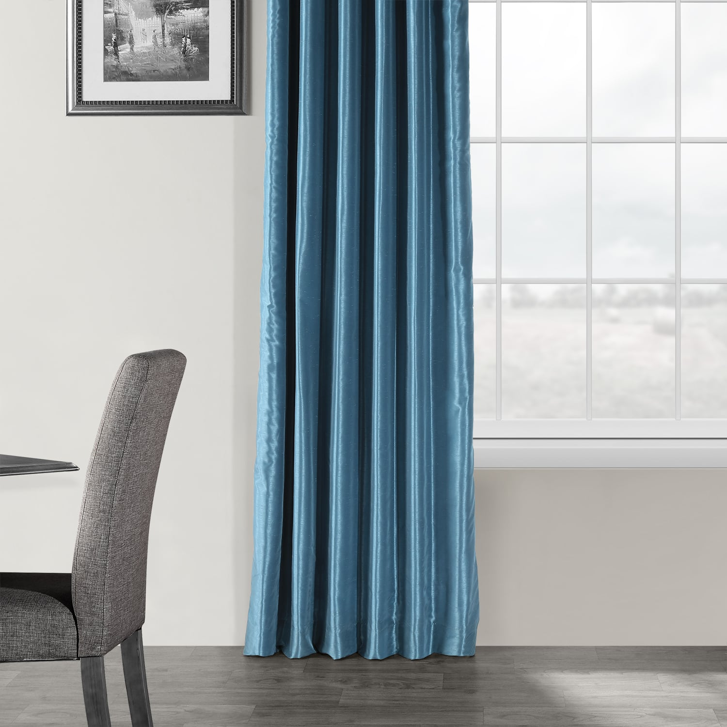 Nassau Blue Vintage Textured Faux Dupioni Silk Curtain