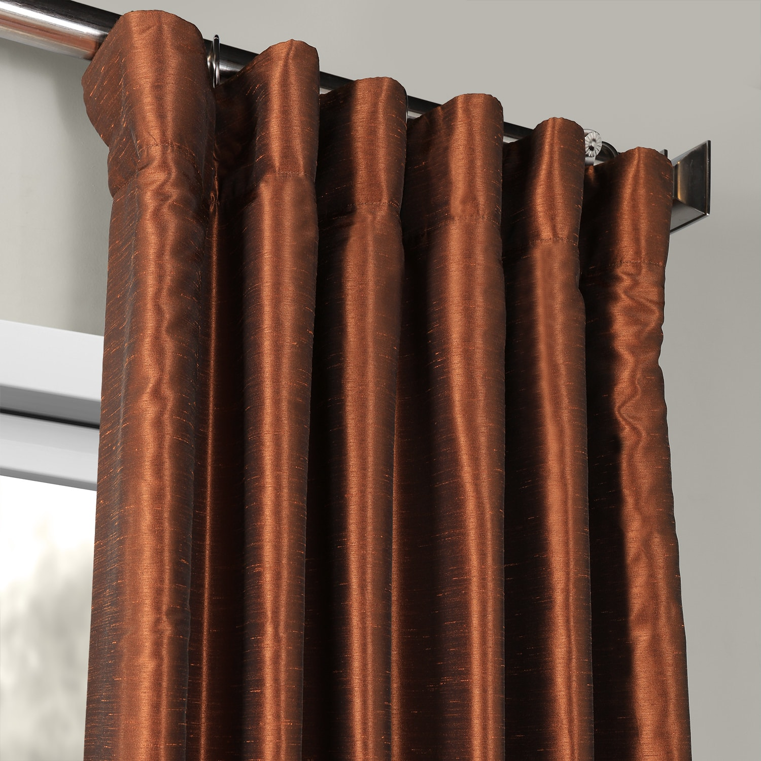 Copper Kettle Vintage Textured Faux Dupioni Silk Curtain
