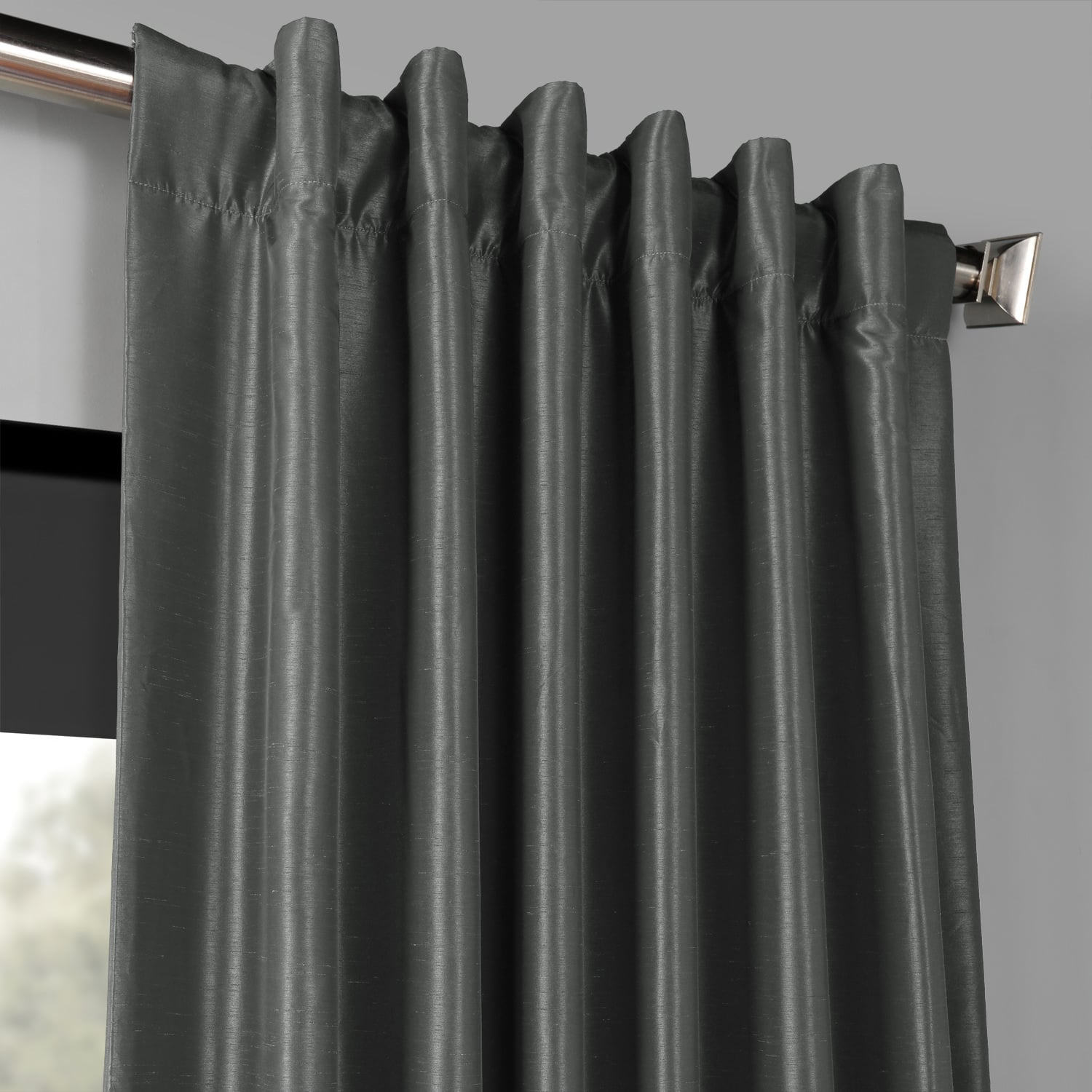 Arrowhead Grey Blackout Vintage Textured Faux Dupioni Silk Curtain