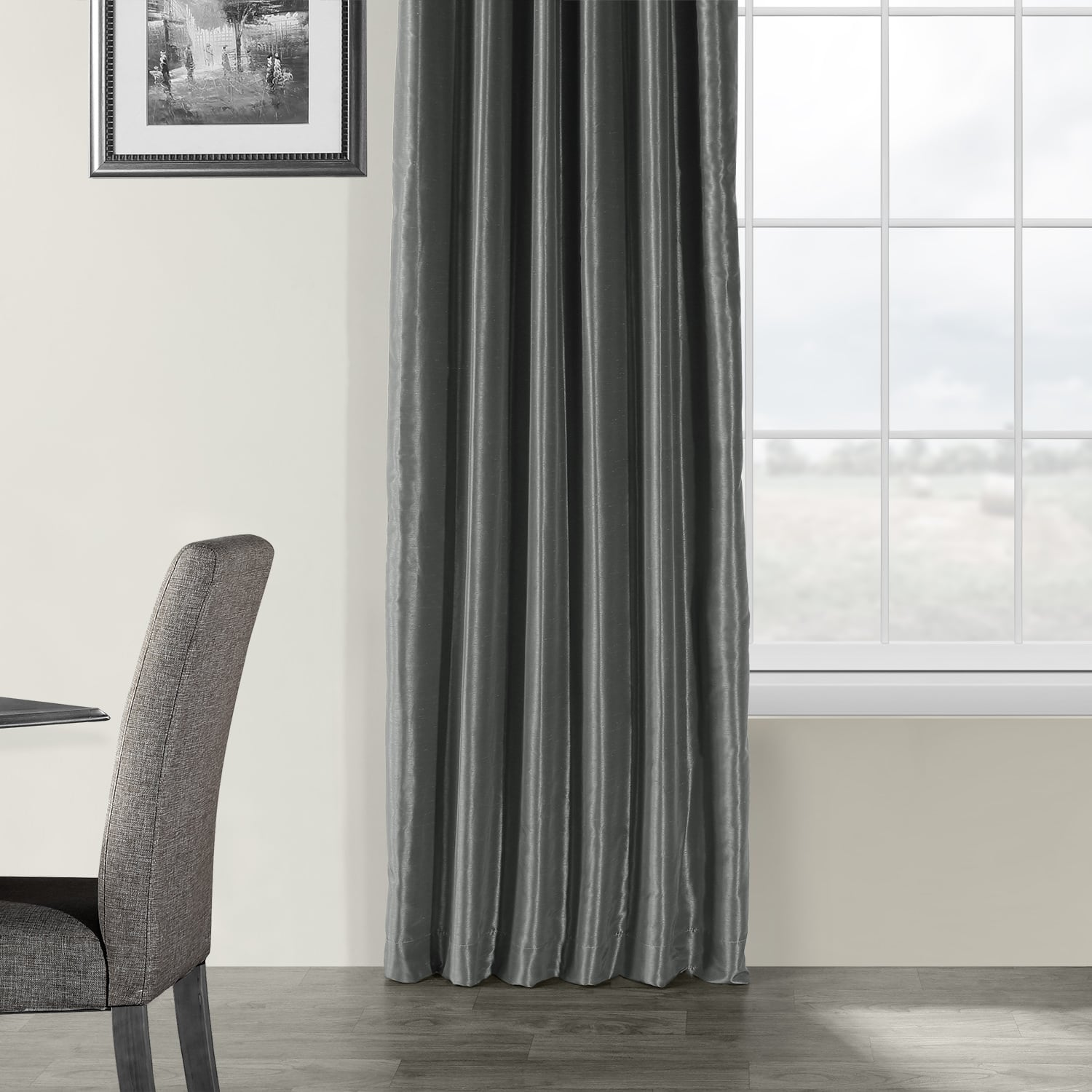 Arrowhead Grey Vintage Textured Faux Dupioni Silk Curtain