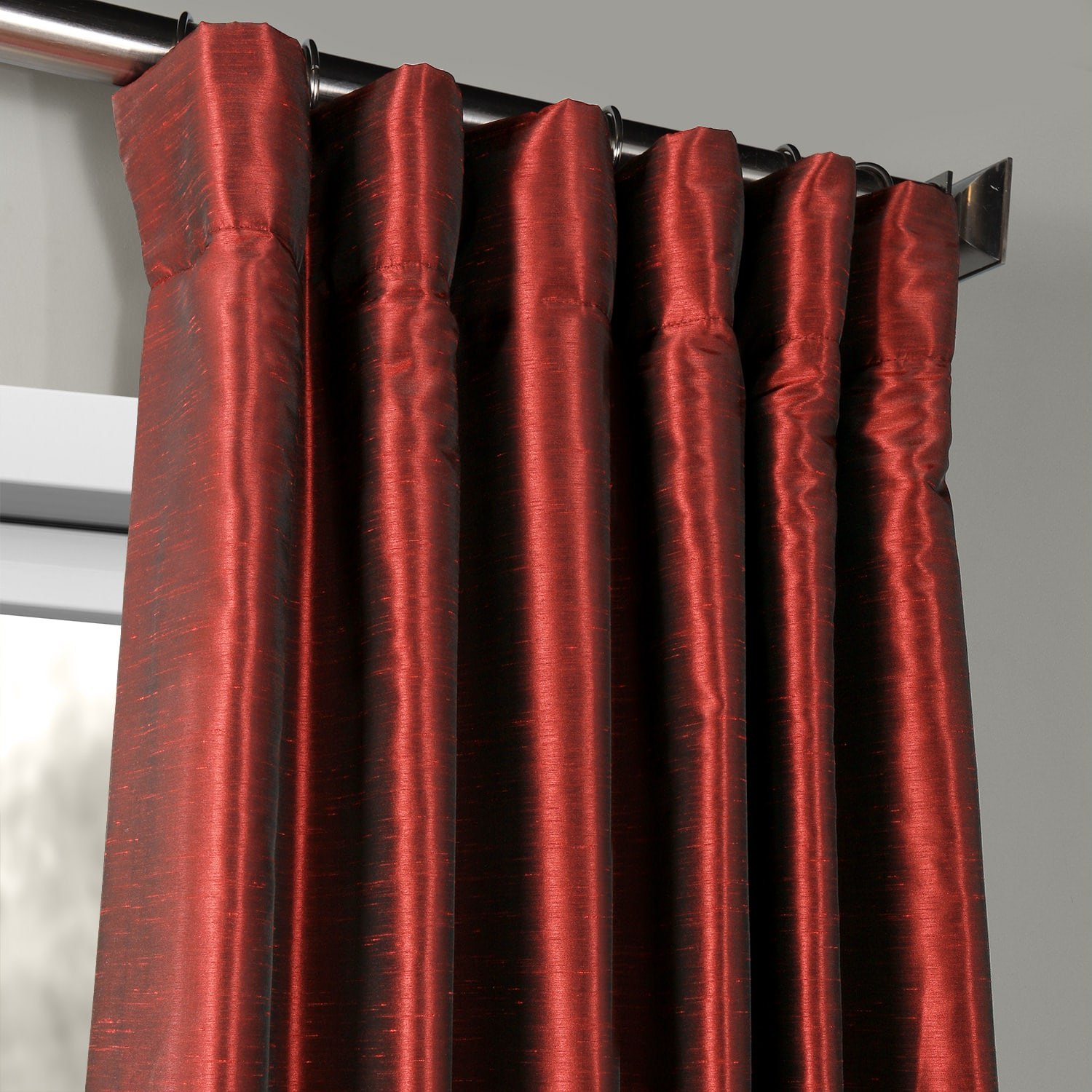 Ruby Vintage Textured Faux Dupioni Silk Curtains | HPD