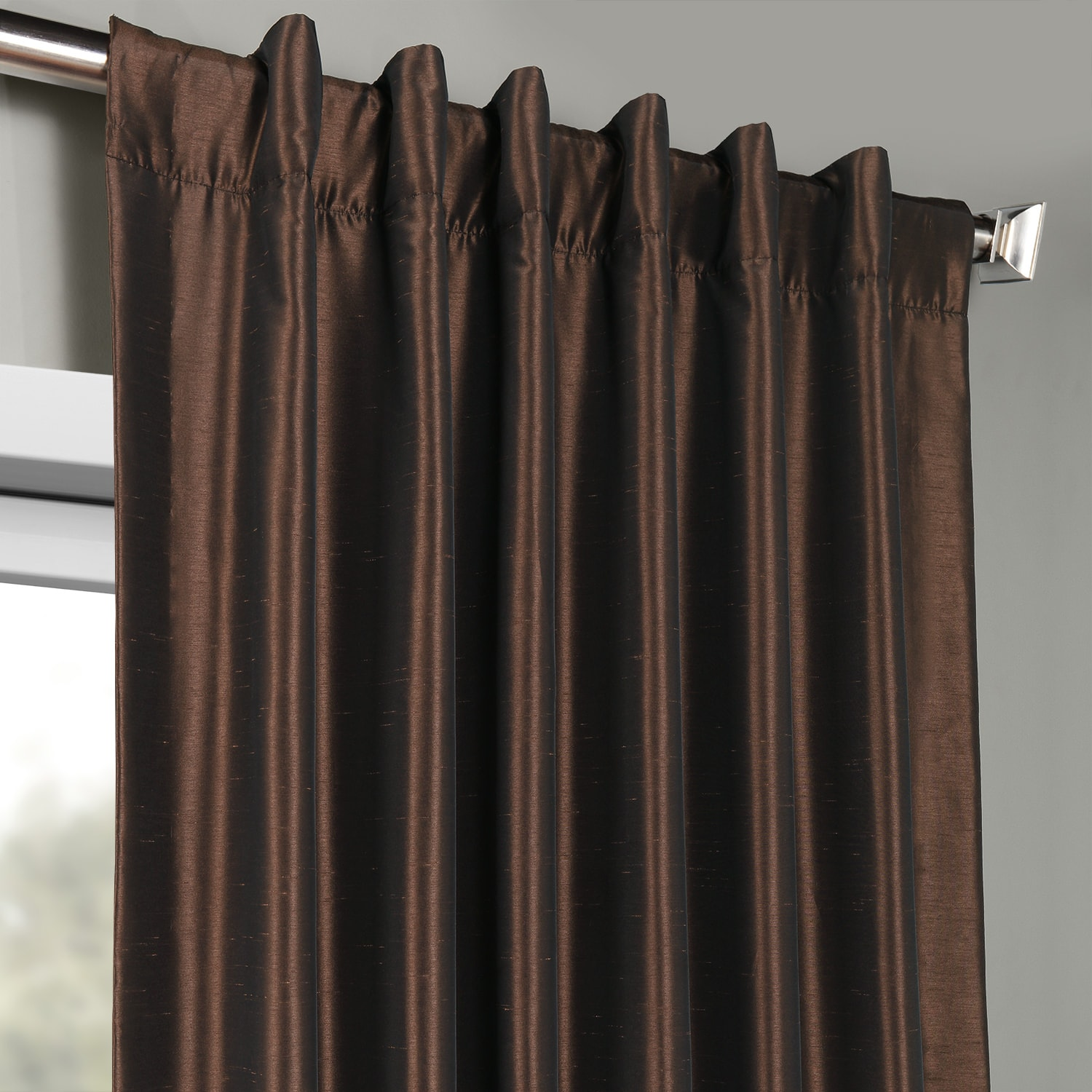 3 Piece Faux Cotton Espresso Brown Kitchen Window Curtain: Coffee Bean Vintage Textured Faux Dupioni Silk Curtains