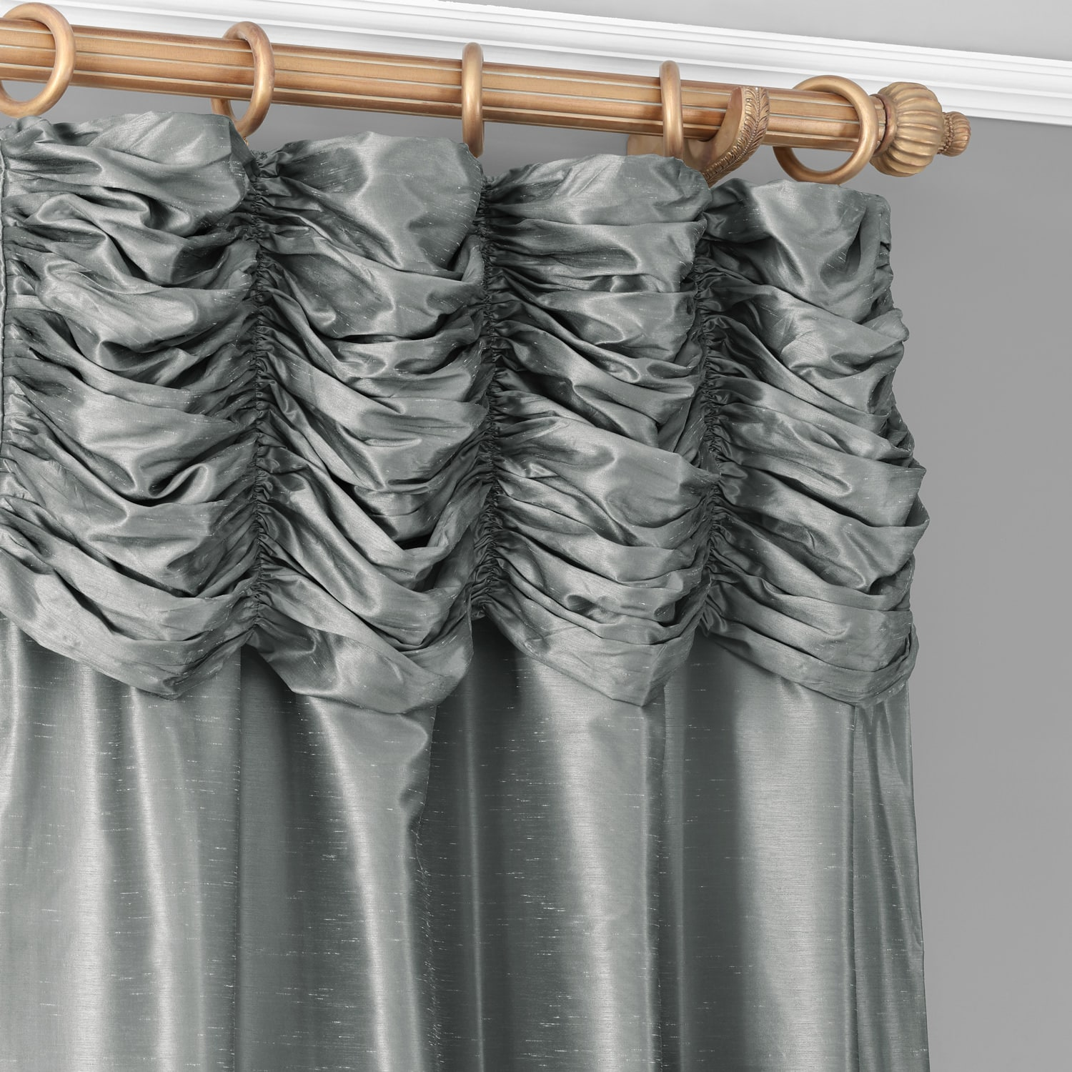 Storm Grey Ruched Vintage Textured Faux Dupioni Silk Curtain
