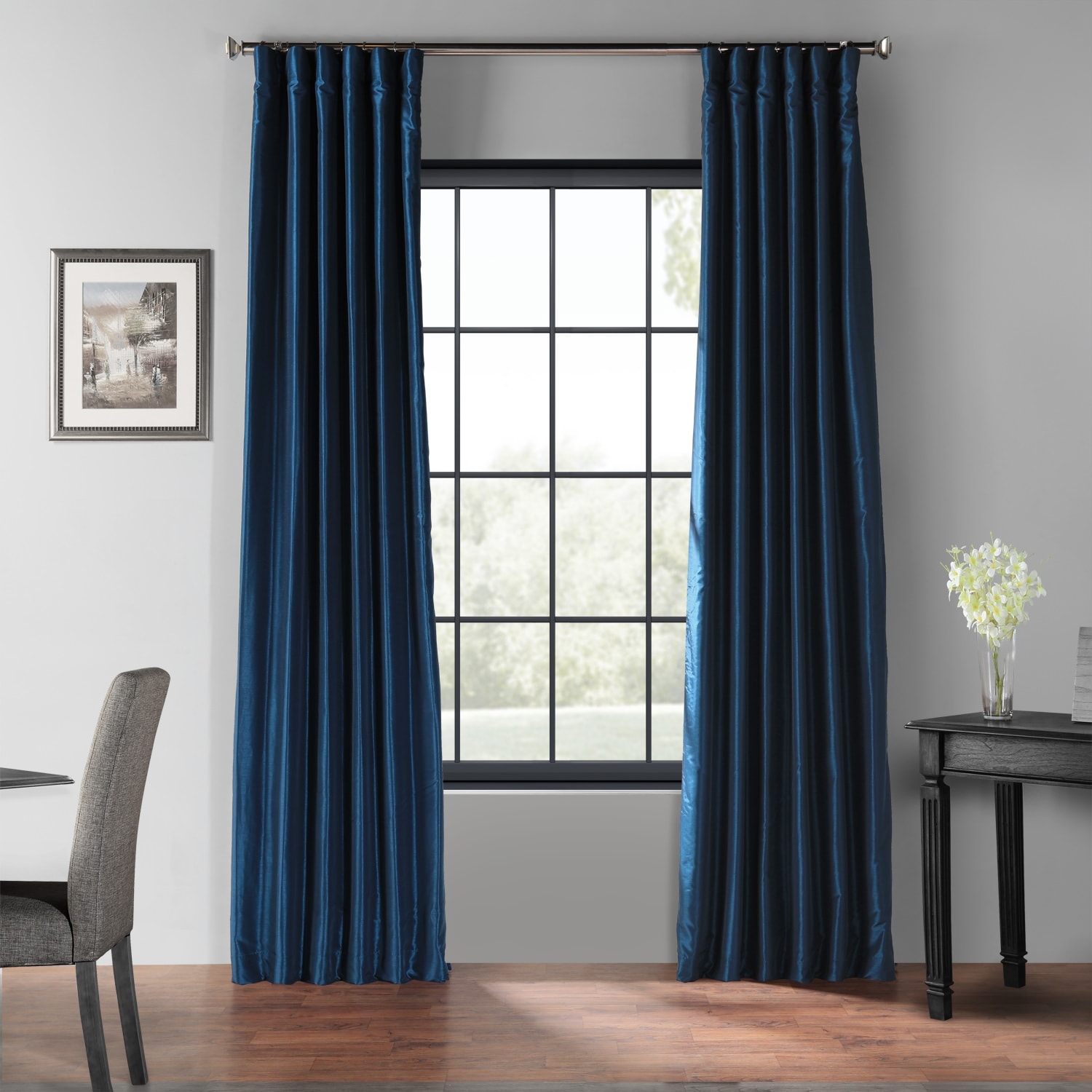 Captain's Blue Blackout Vintage Textured Faux Dupioni Silk Curtain