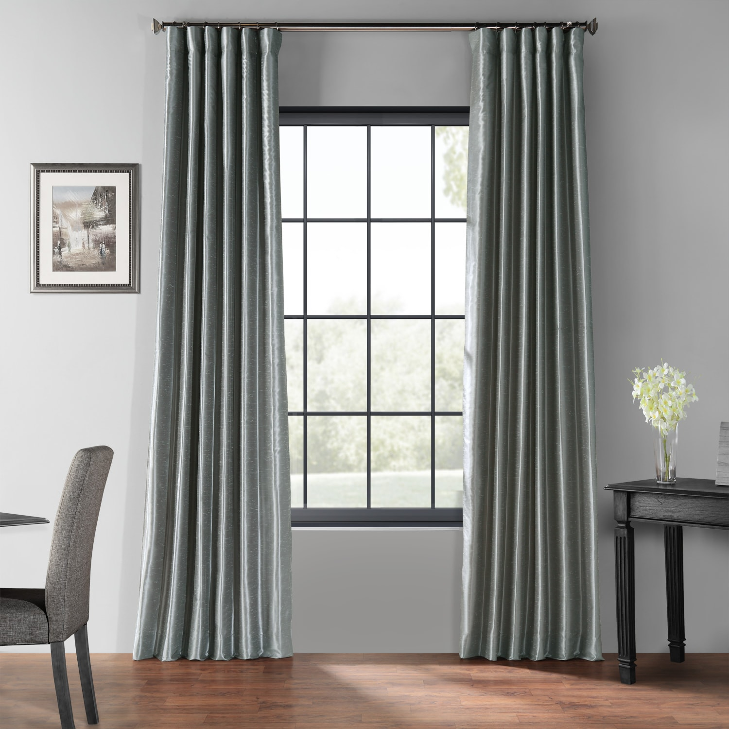Storm Grey Blackout Vintage Textured Faux Dupioni Curtain