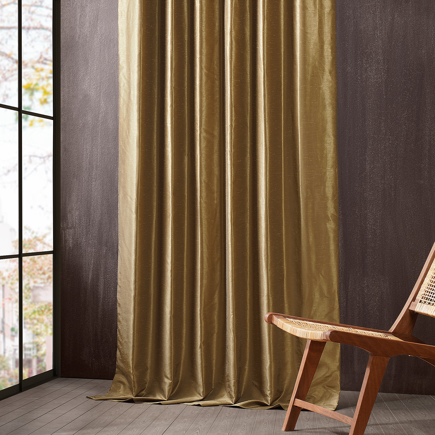 Charming Gold Vintage Dupioni Hotel Blackout Curtain