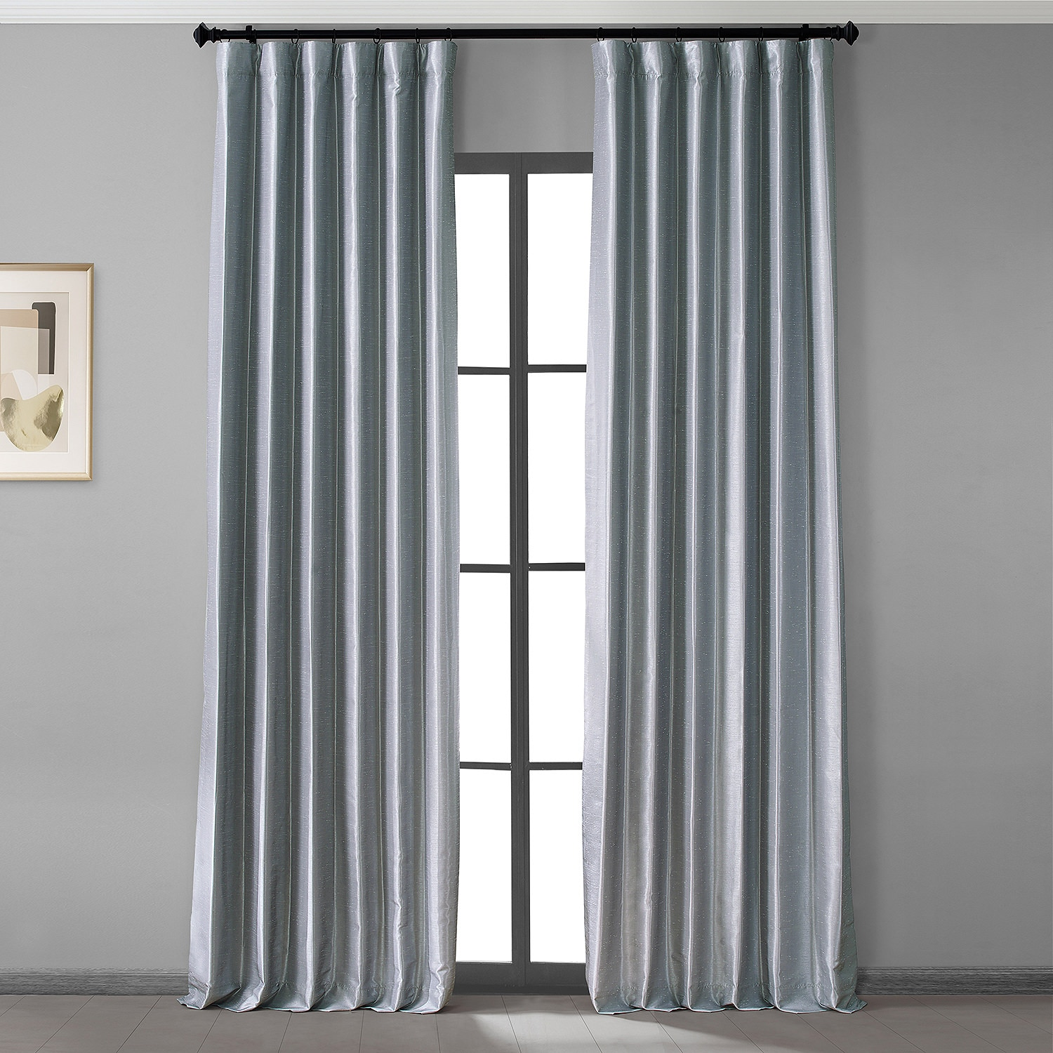 Simply Silver Vintage Dupioni Hotel Blackout Curtain