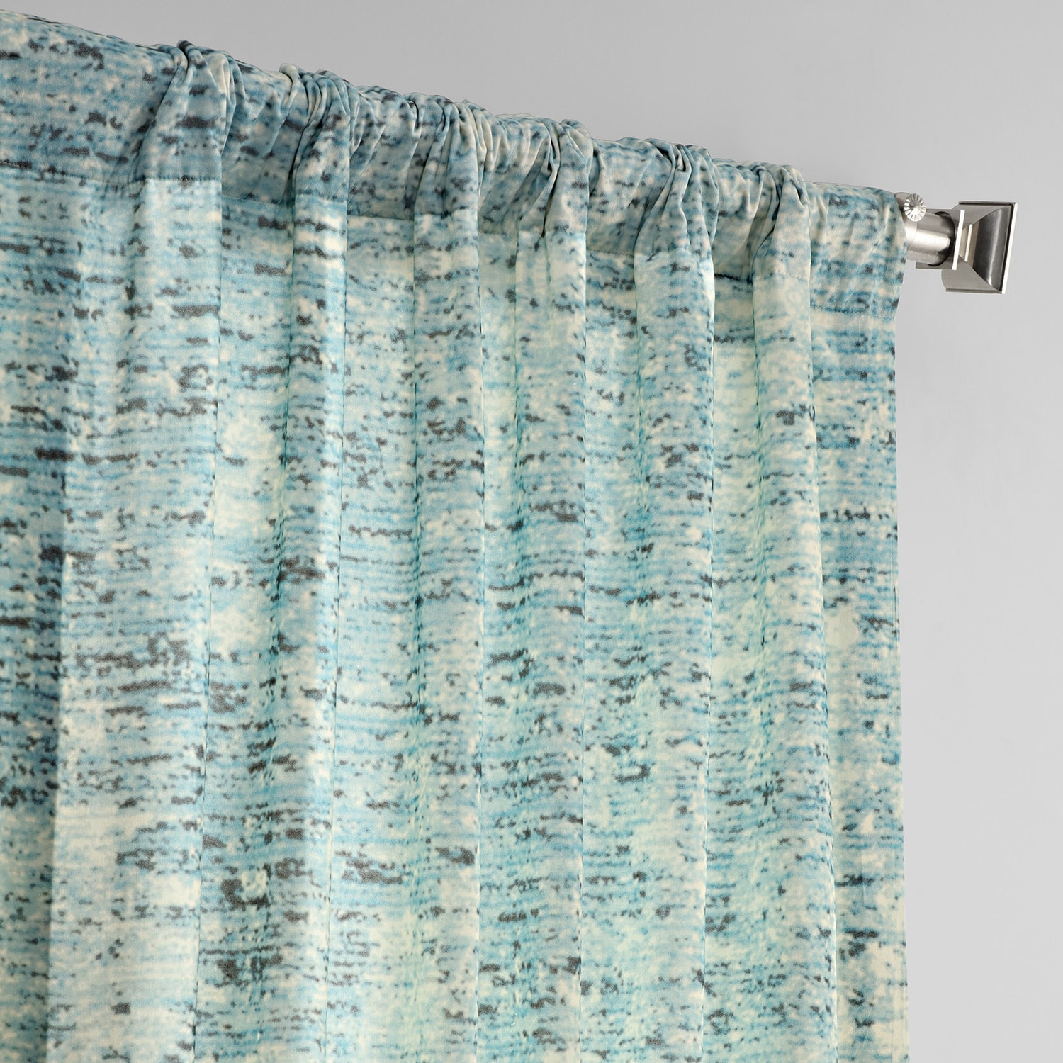 Galleria Teal Digital Printed Cotton Twill Curtain