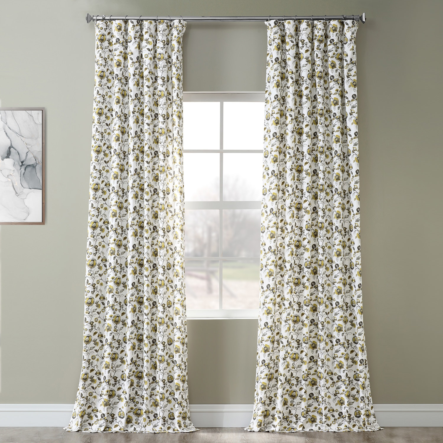 Madison Gold and Grey Digital Printed Cotton Twill Curtain