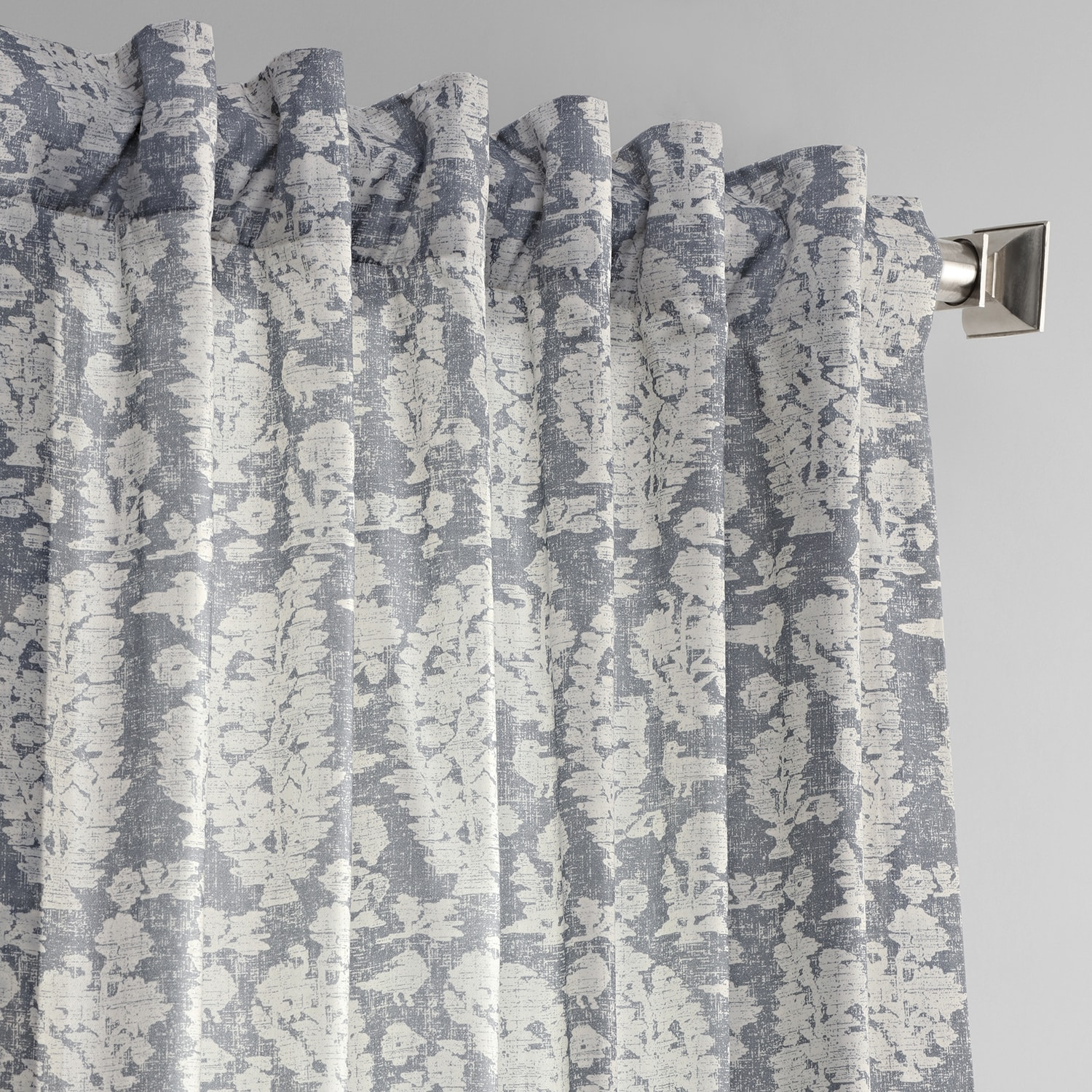 Sierra Grey Blue Digital Printed Cotton Twill Curtain