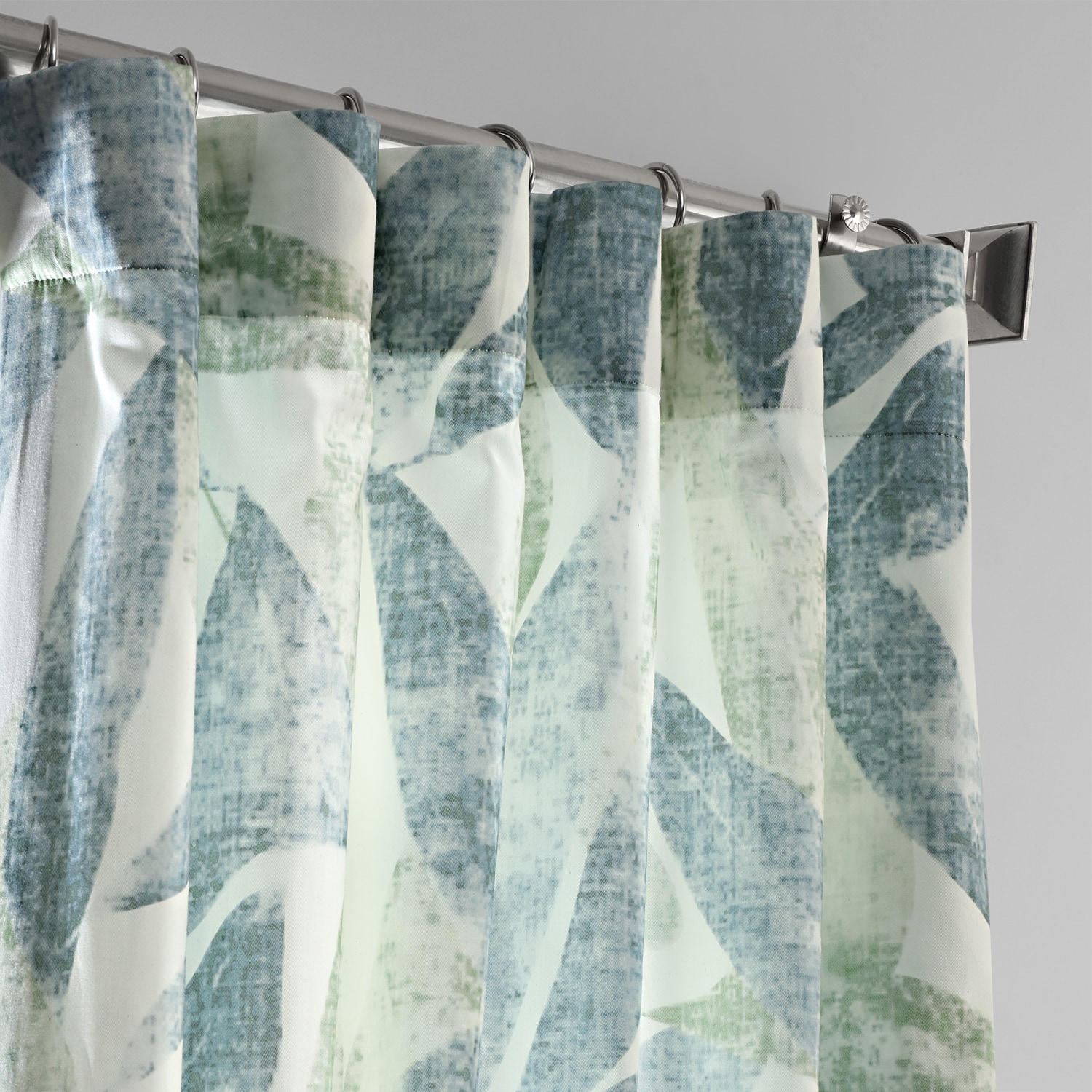 Eucalyptus Blue Digital Printed Cotton Twill Curtain