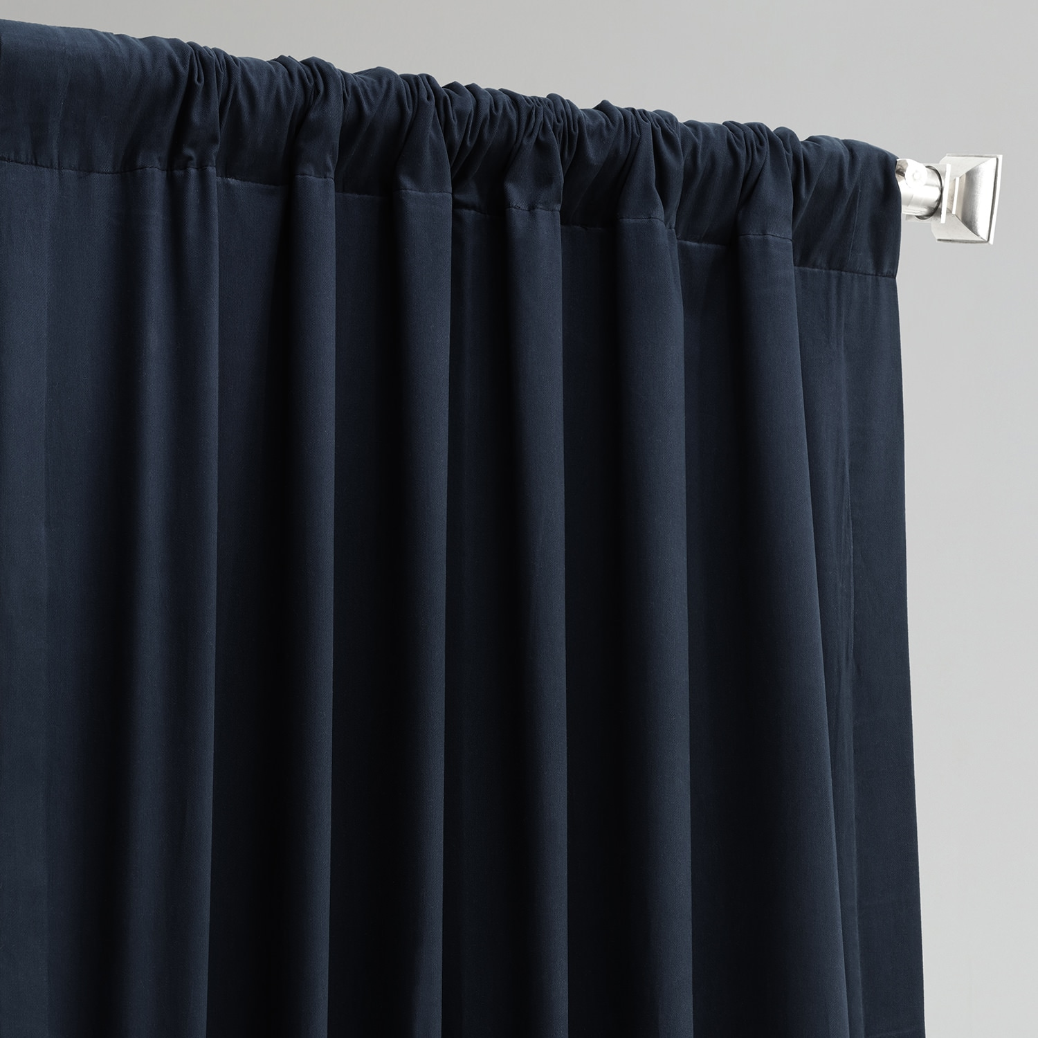 Polo Navy Solid Cotton Blackout Curtain