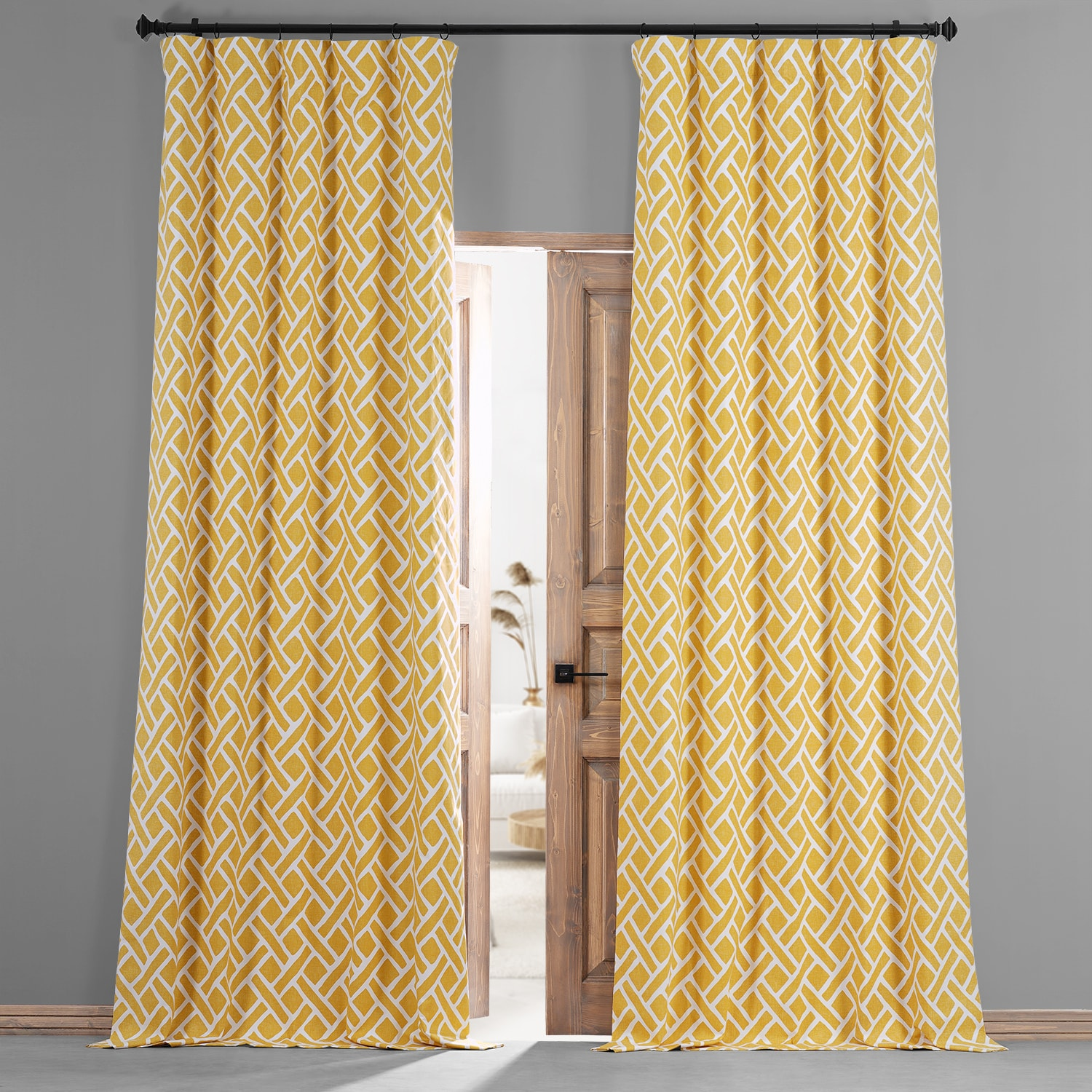 Martinique Yellow Printed Cotton Hotel Blackout Curtain