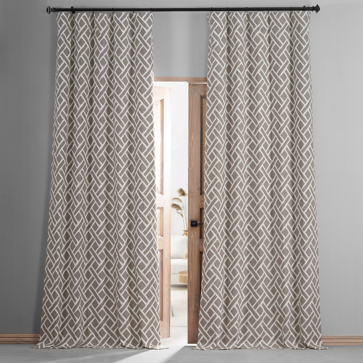 Martinique Taupe Printed Cotton Hotel Blackout Curtain