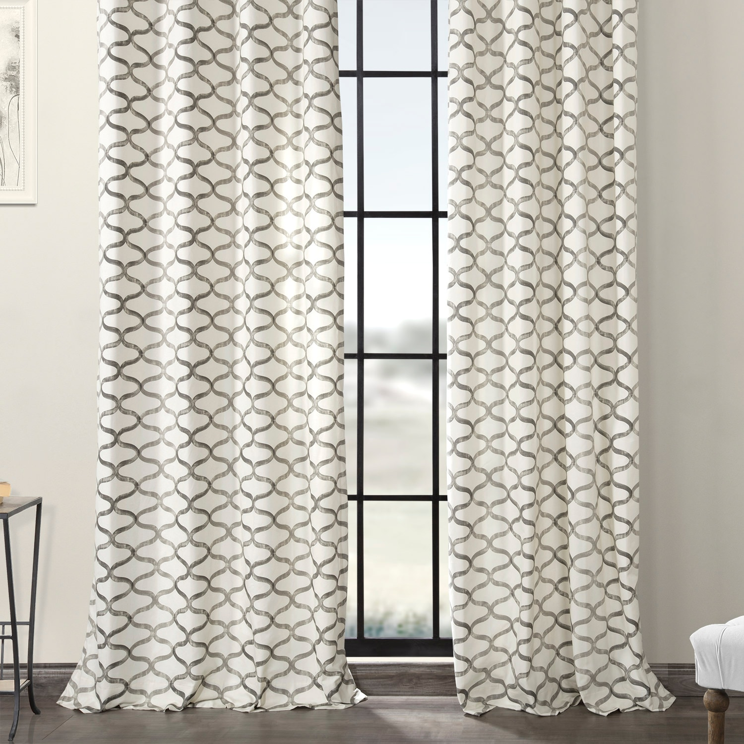Illusions Silver Grey Grommet Printed Cotton Curtain