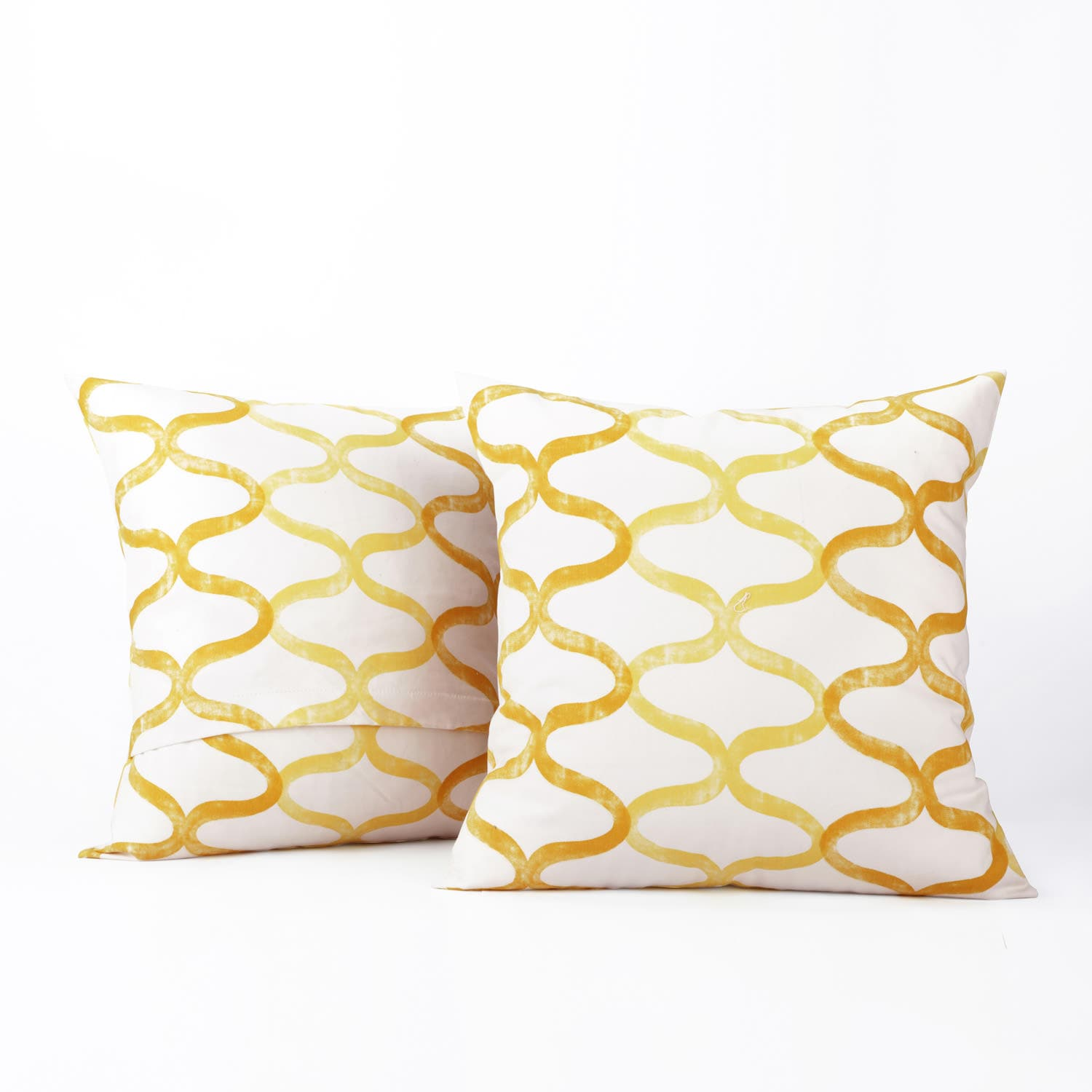Illusions Yellow Printed Cotton Cover- PAIR