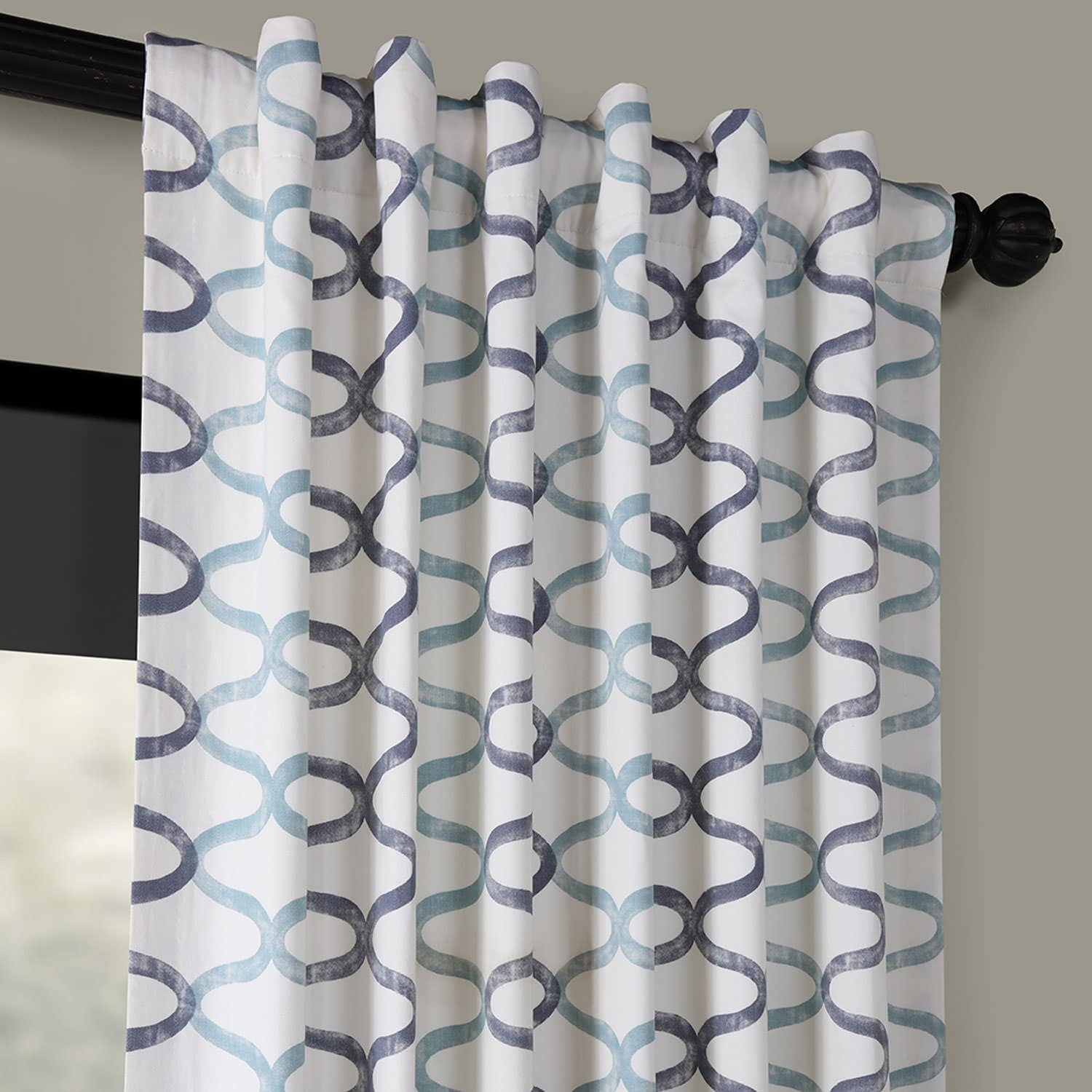 Illusions Blue Printed Cotton Curtain