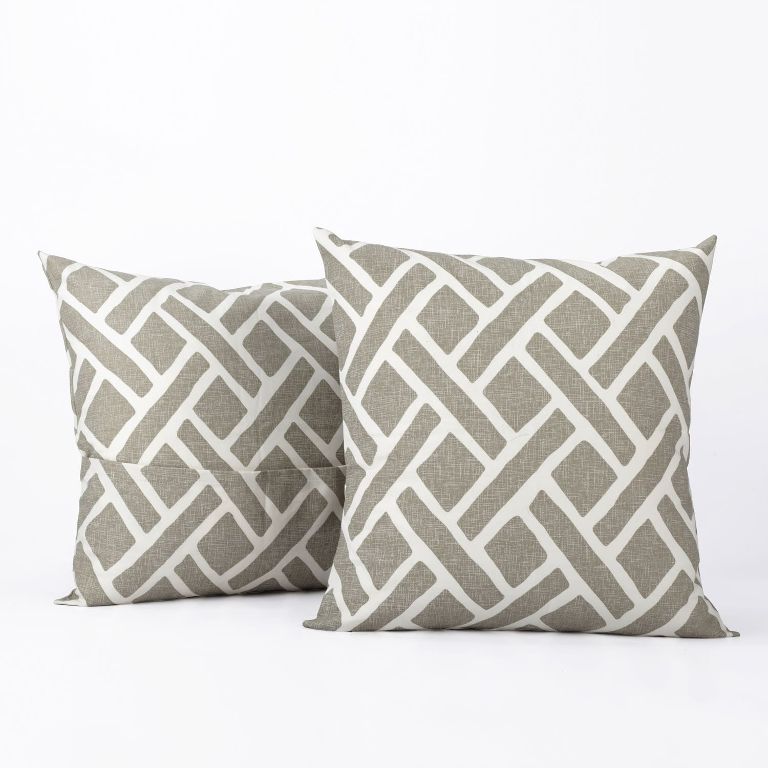 Martinique Taupe Printed Cotton Cushion Covers - PAIR