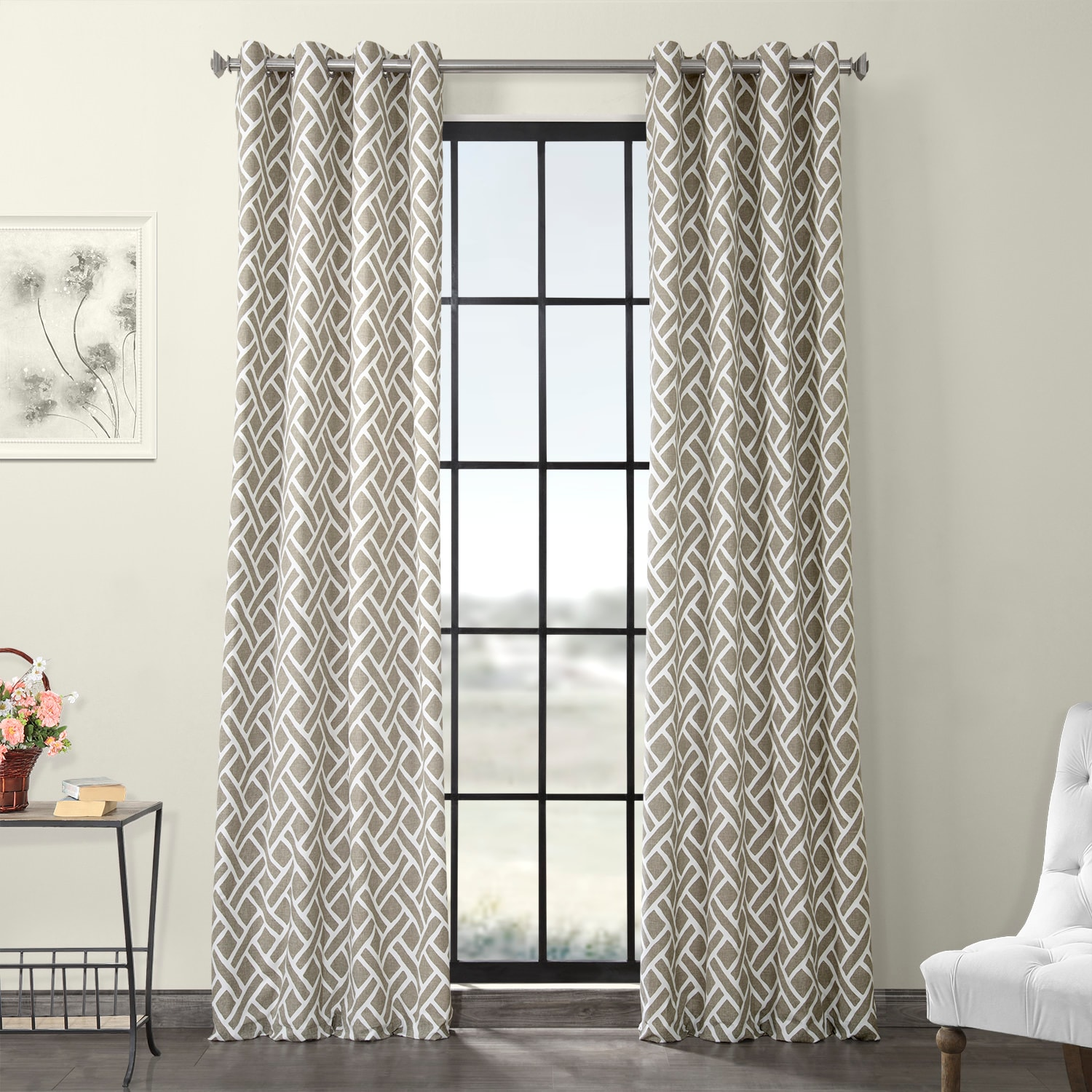 Martinique Taupe Grommet Printed Cotton Curtain