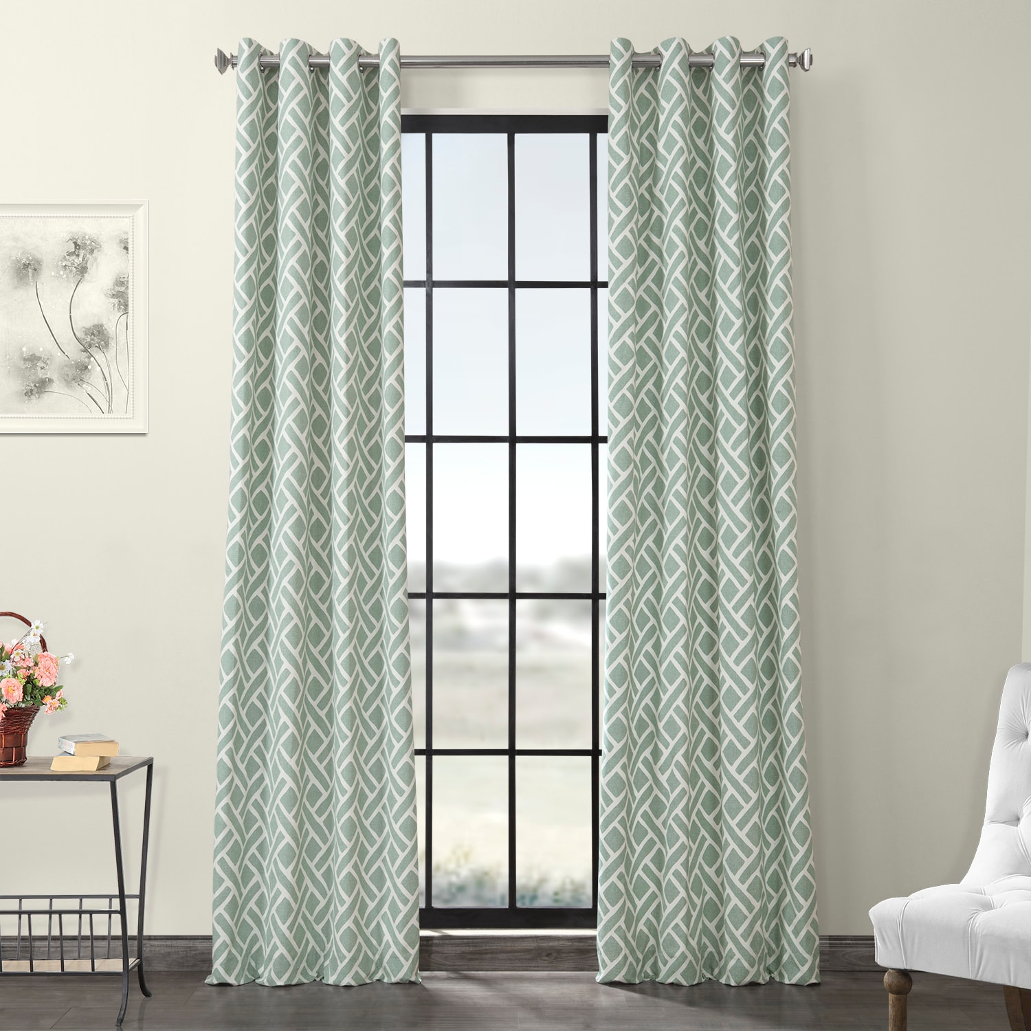 Martinique Aqua Grommet Printed Cotton Curtain