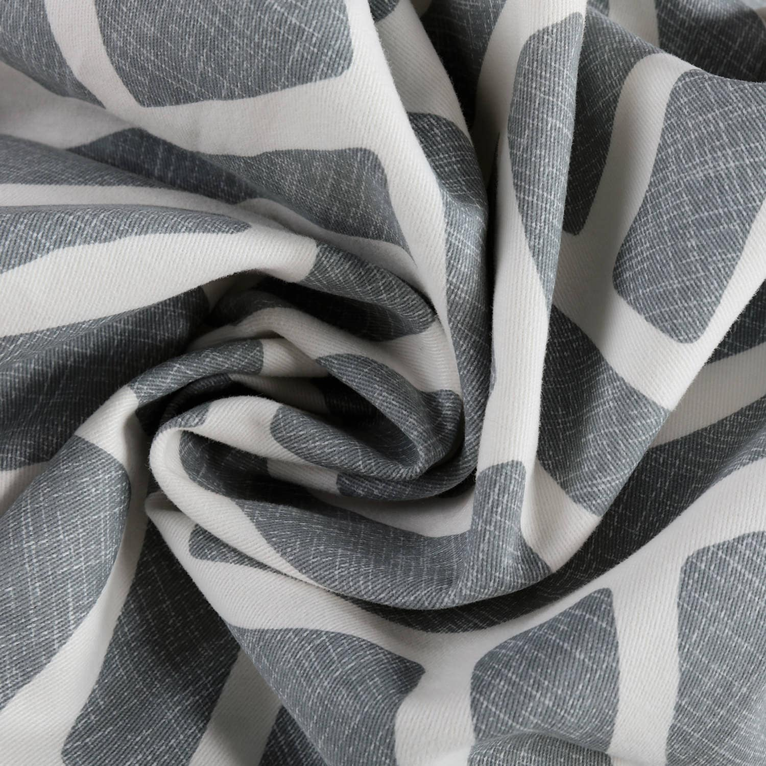 Martinique Grey Grommet Printed Cotton Curtain