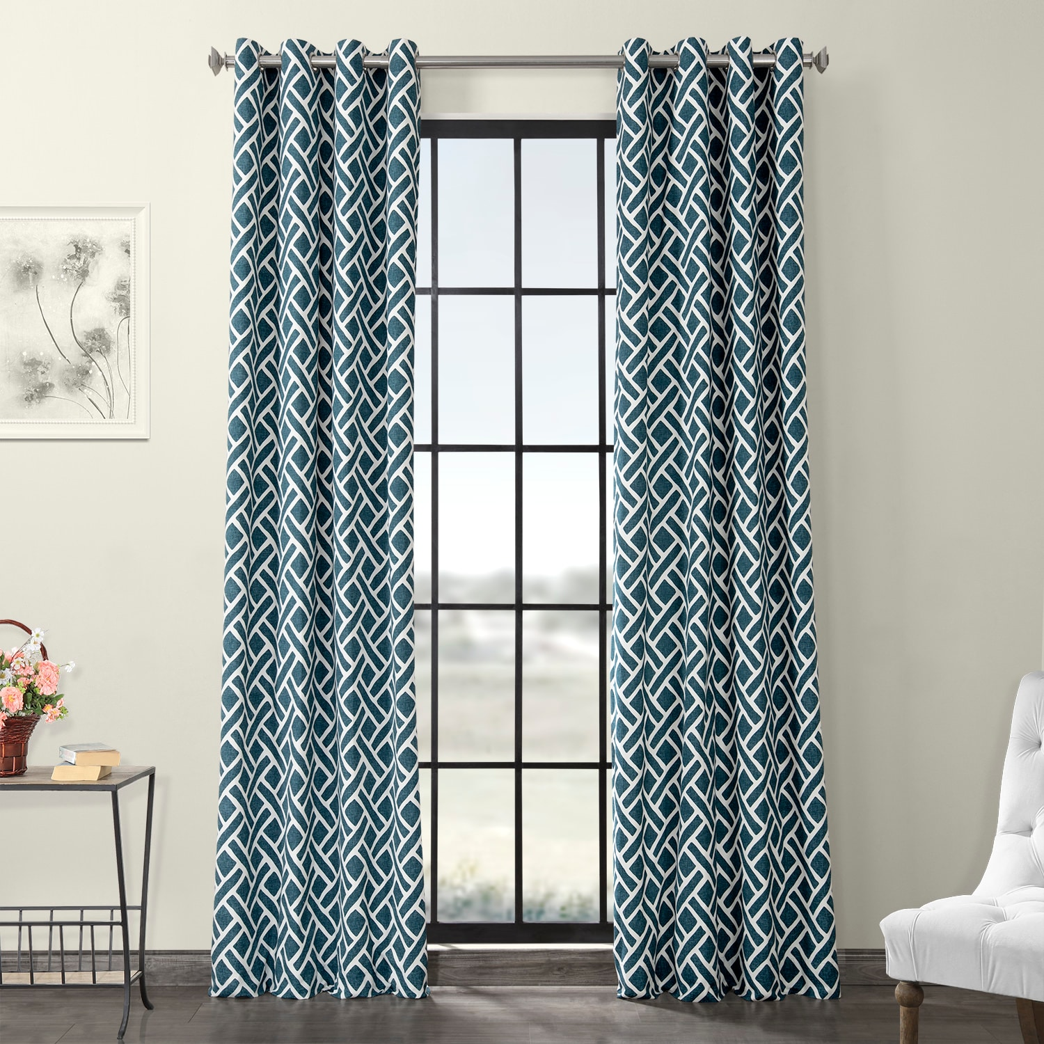 Martinique Blue Grommet Printed Cotton Curtain