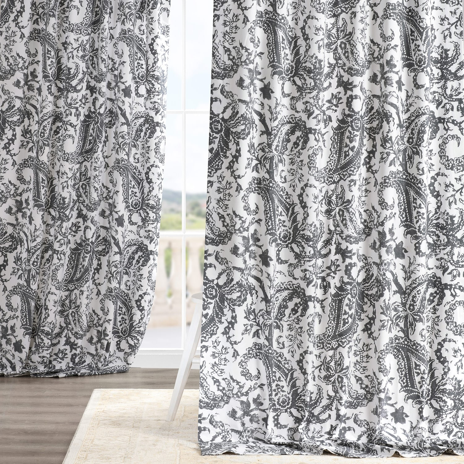 Edina Washed Grey Printed Cotton Curtain